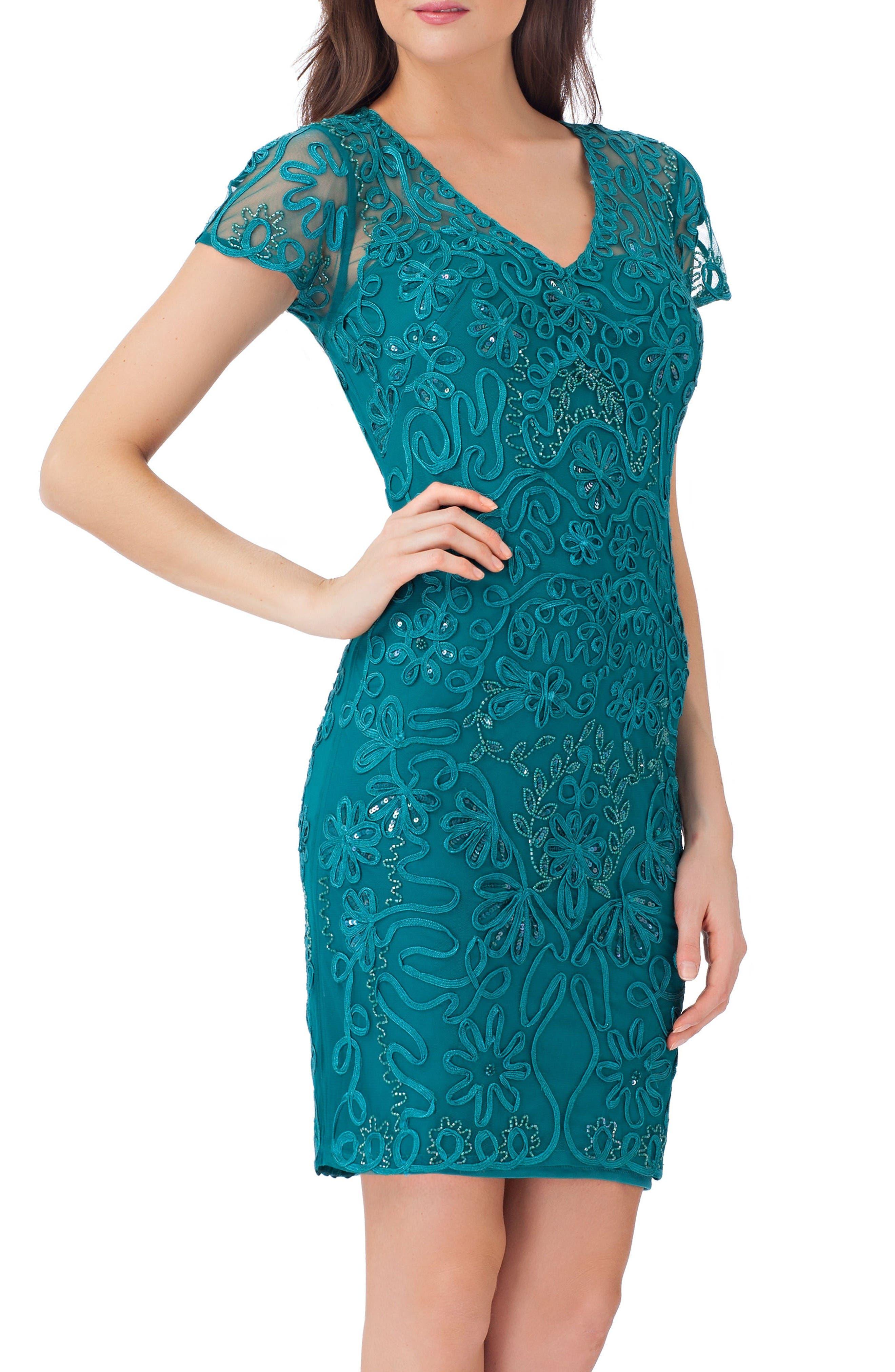 Embellished Soutache Sheath Dress,                         Main,                         color, Jade