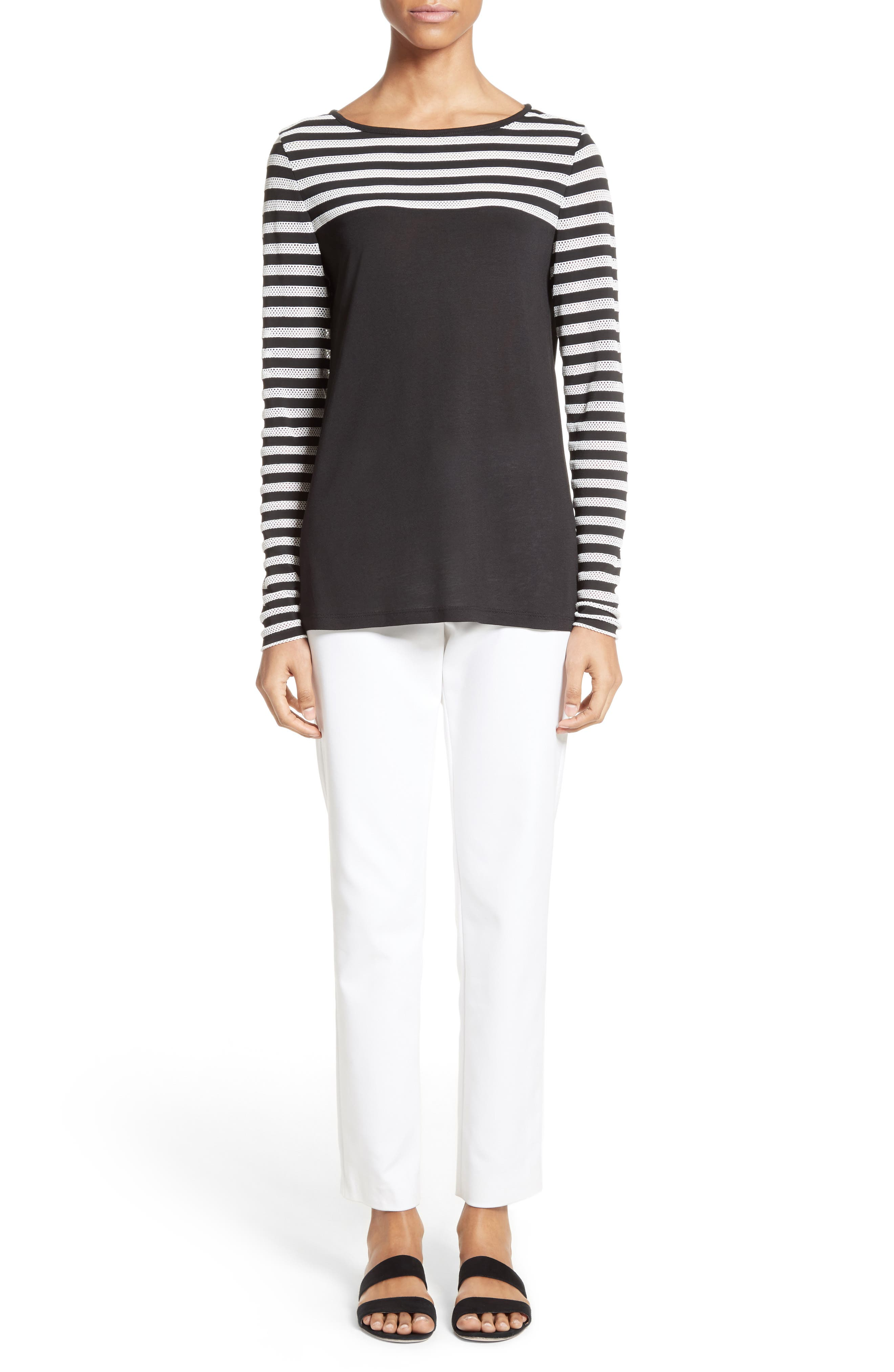 Alternate Image 6  - St. John Collection Stripe Mesh Inset Top