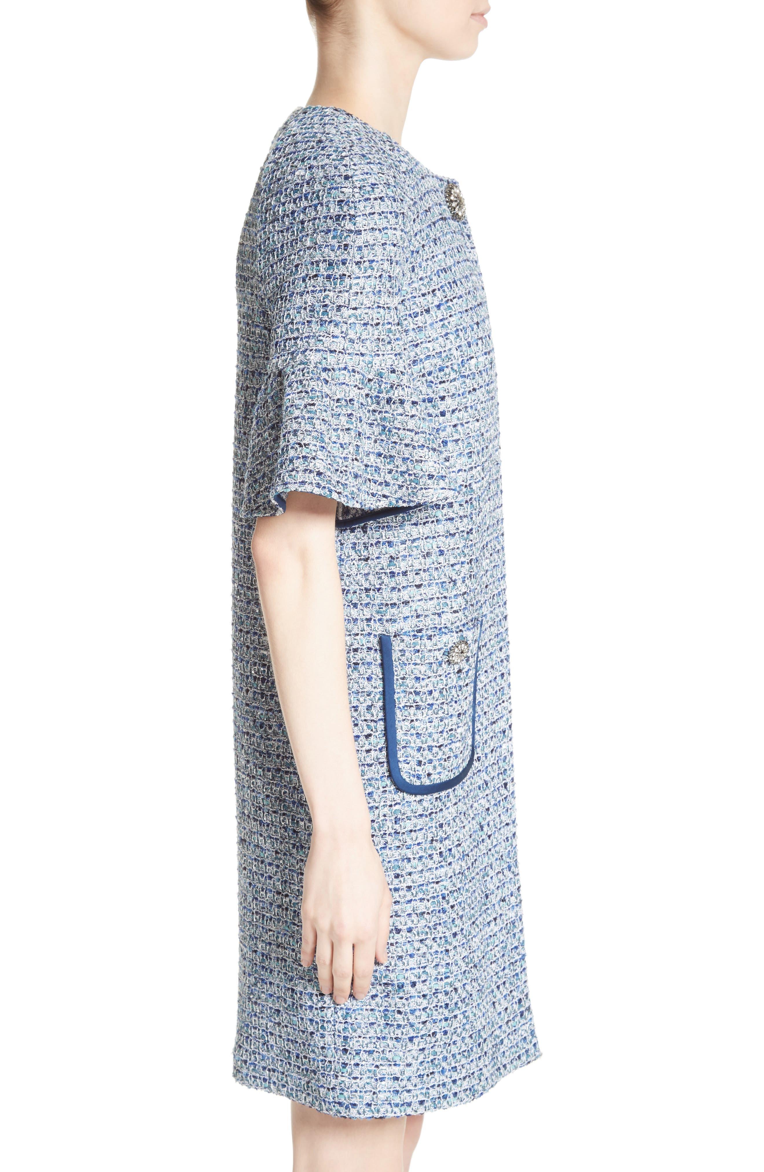 Kiara Tweed Bell Sleeve Jacket,                             Alternate thumbnail 3, color,                             Blue Multi