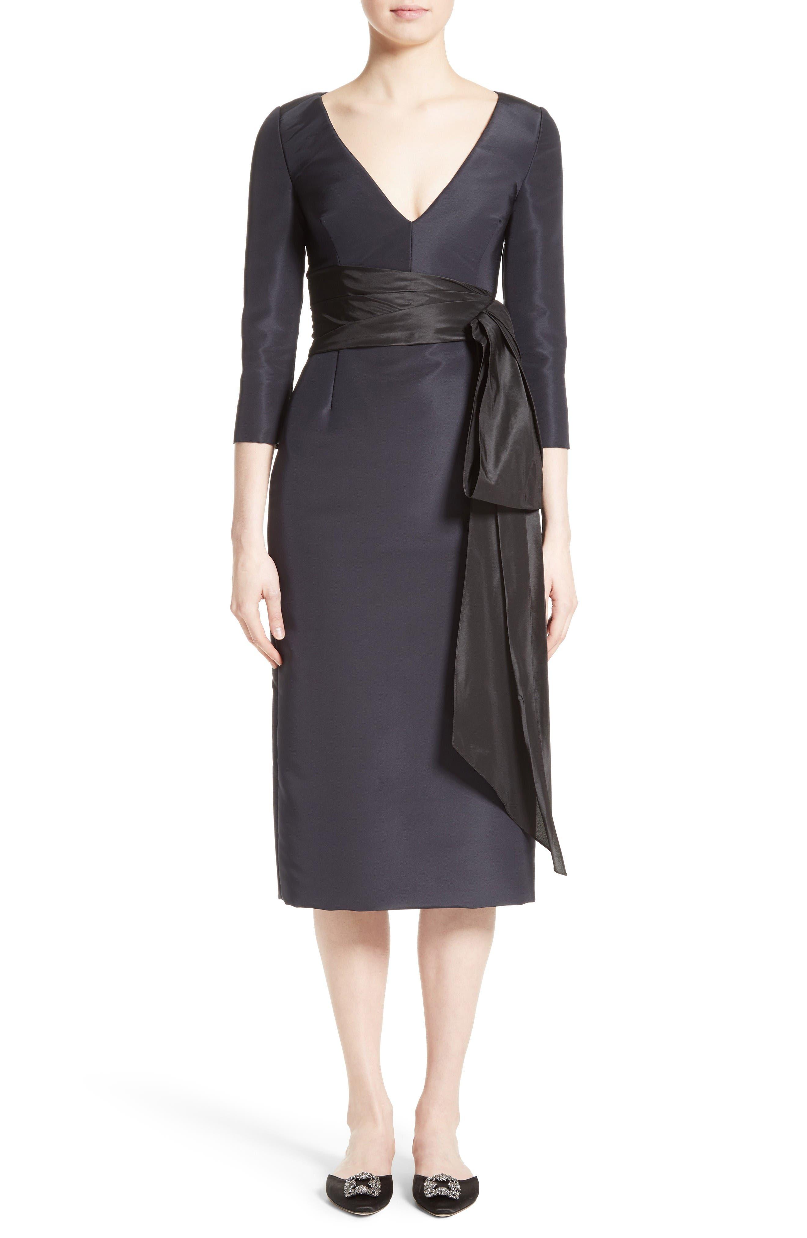 Alternate Image 1 Selected - Oscar de la Renta Silk Moiré Cocktail Dress