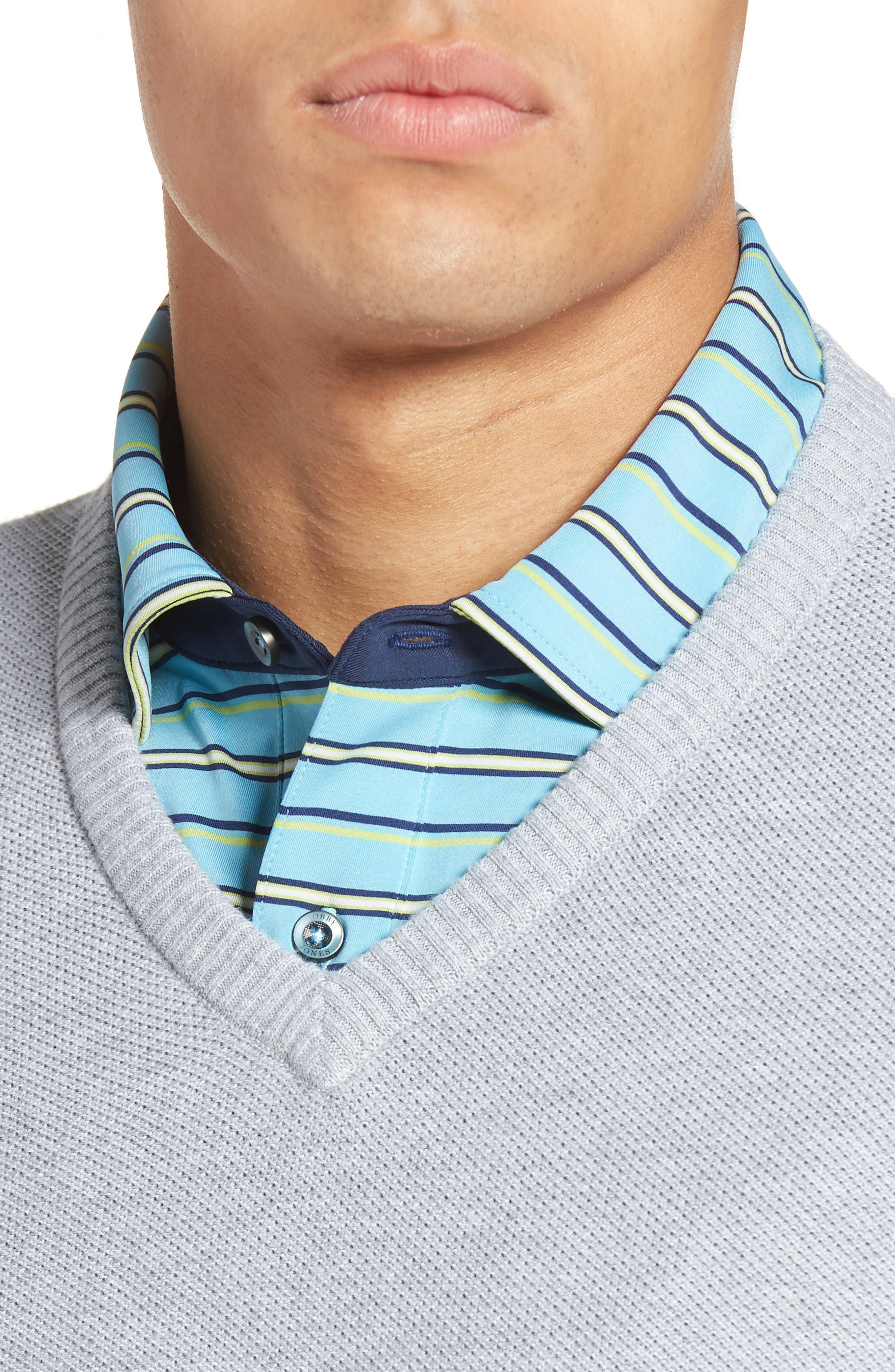 Alternate Image 4  - Bobby Jones Piqué Jersey V-Neck Sweater