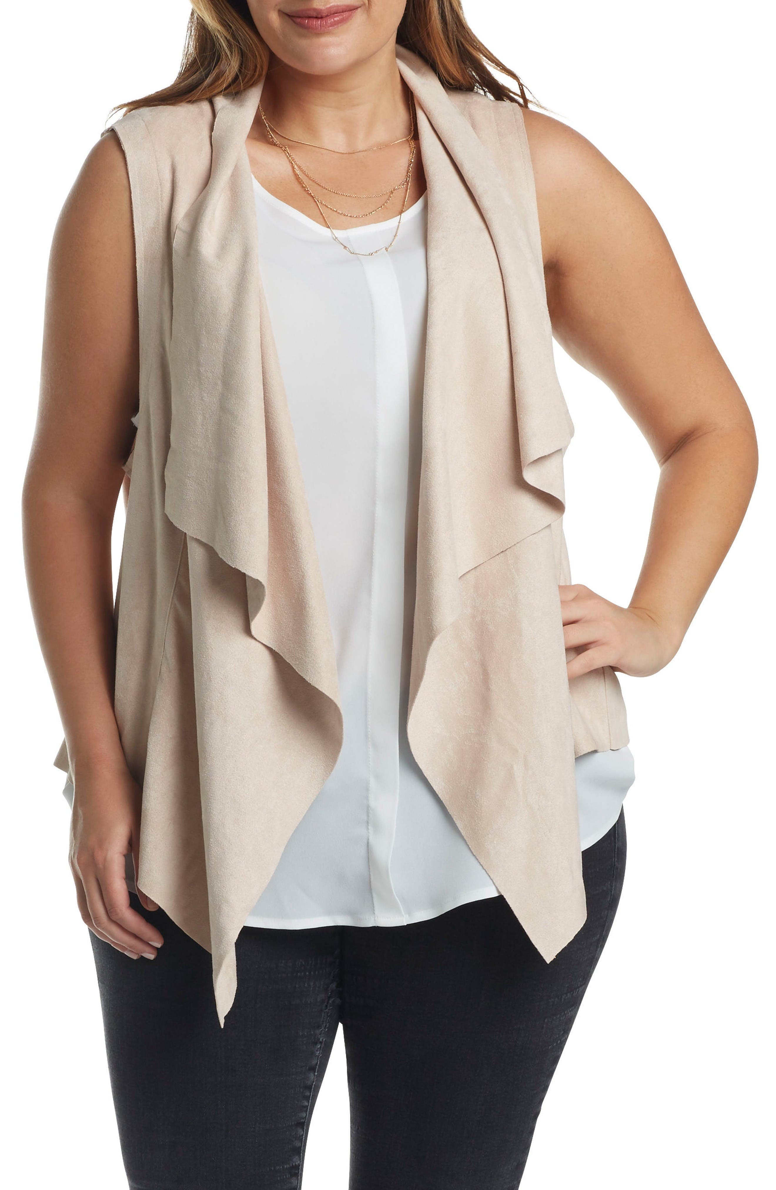 Alternate Image 1 Selected - Tart Paz Faux Suede Drape Front Vest