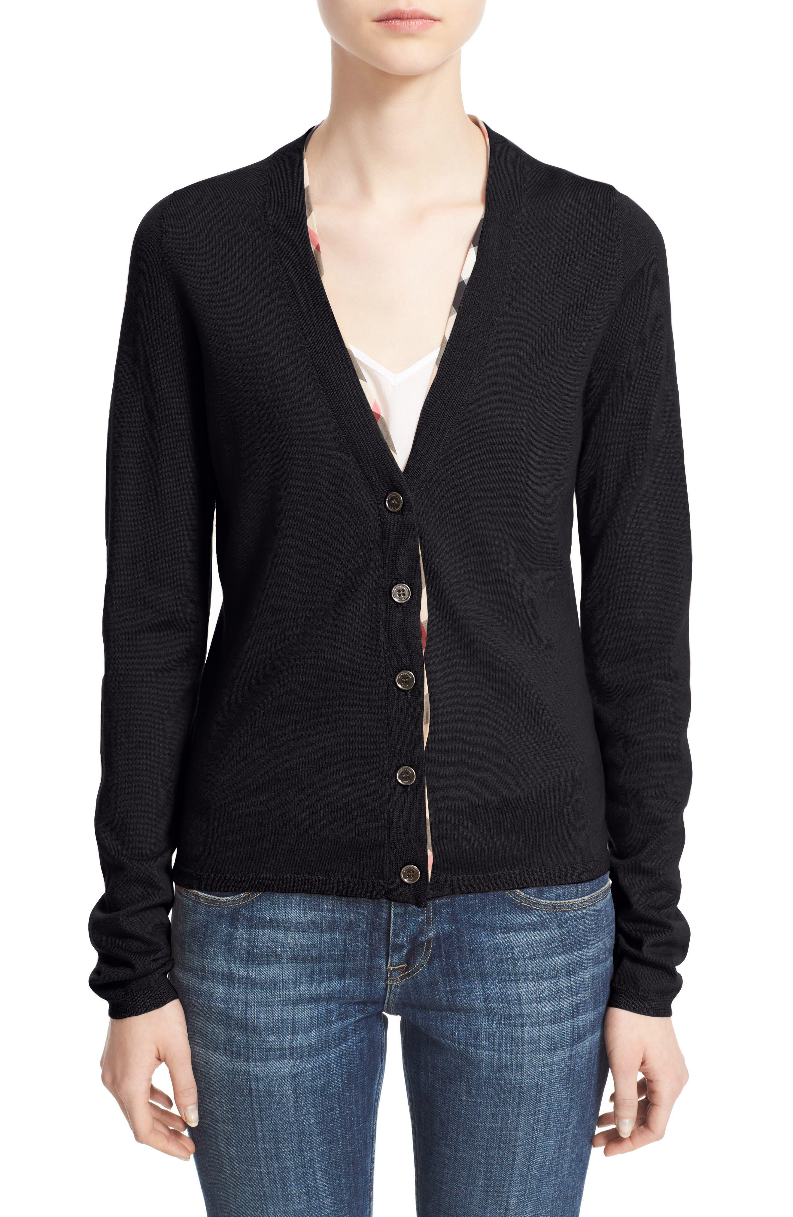 Check Trim Wool Cardigan,                         Main,                         color, Black
