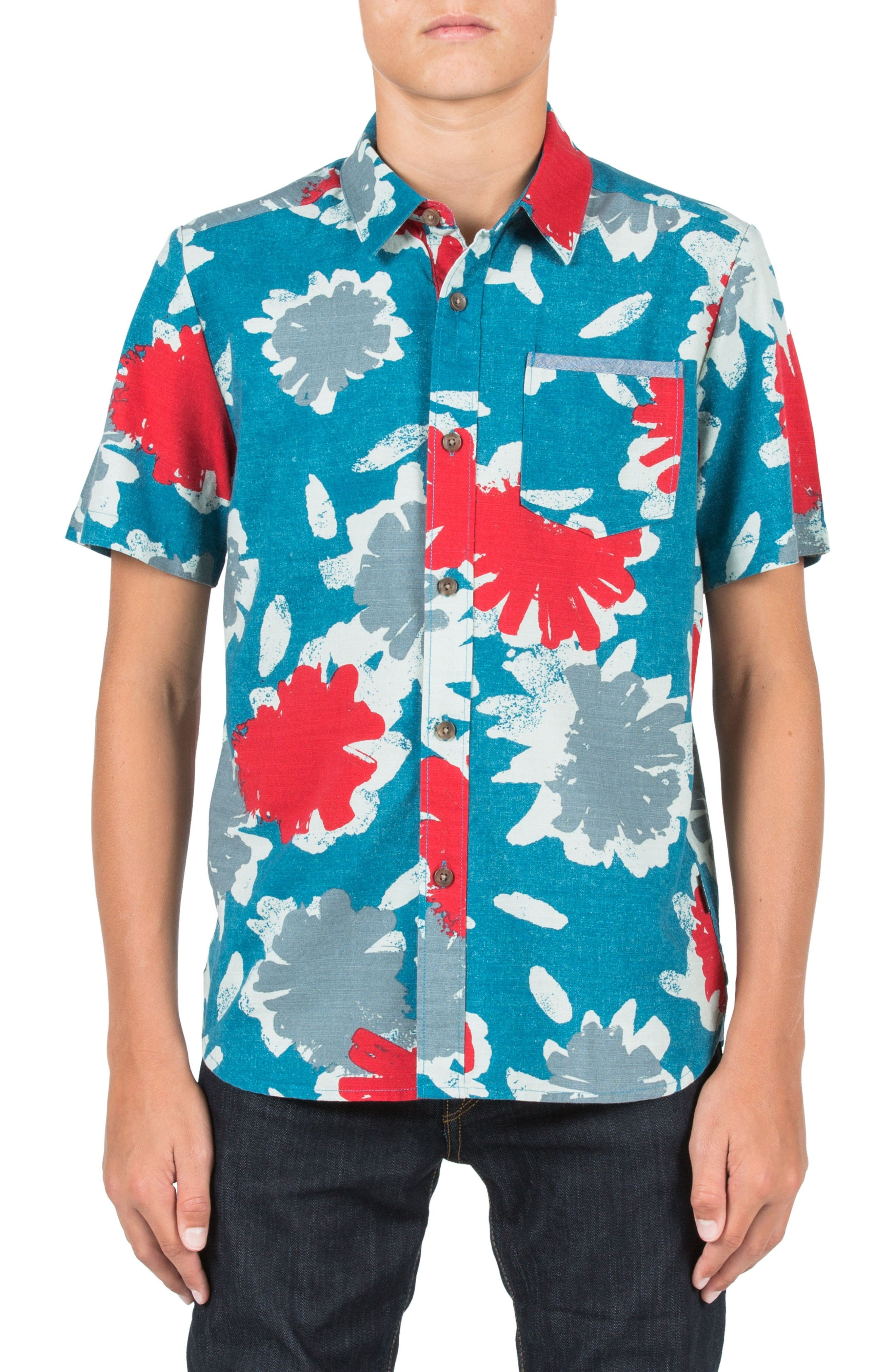 Main Image - Volcom Ballast Short Sleeve Woven Shirt (Big Boys)