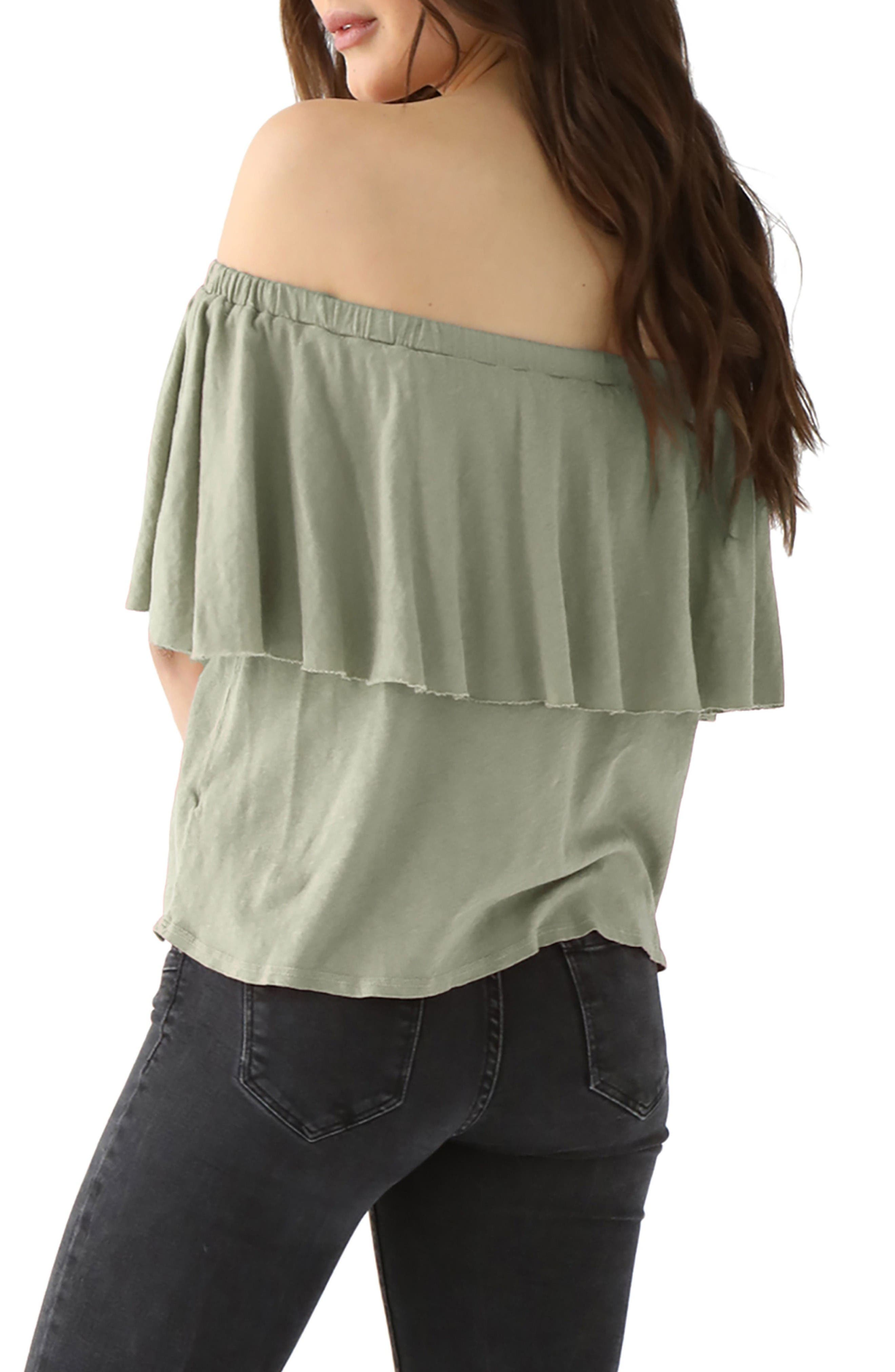Rosane Cotton Linen Blend Off the Shoulder Top,                             Alternate thumbnail 2, color,                             Moon Mist