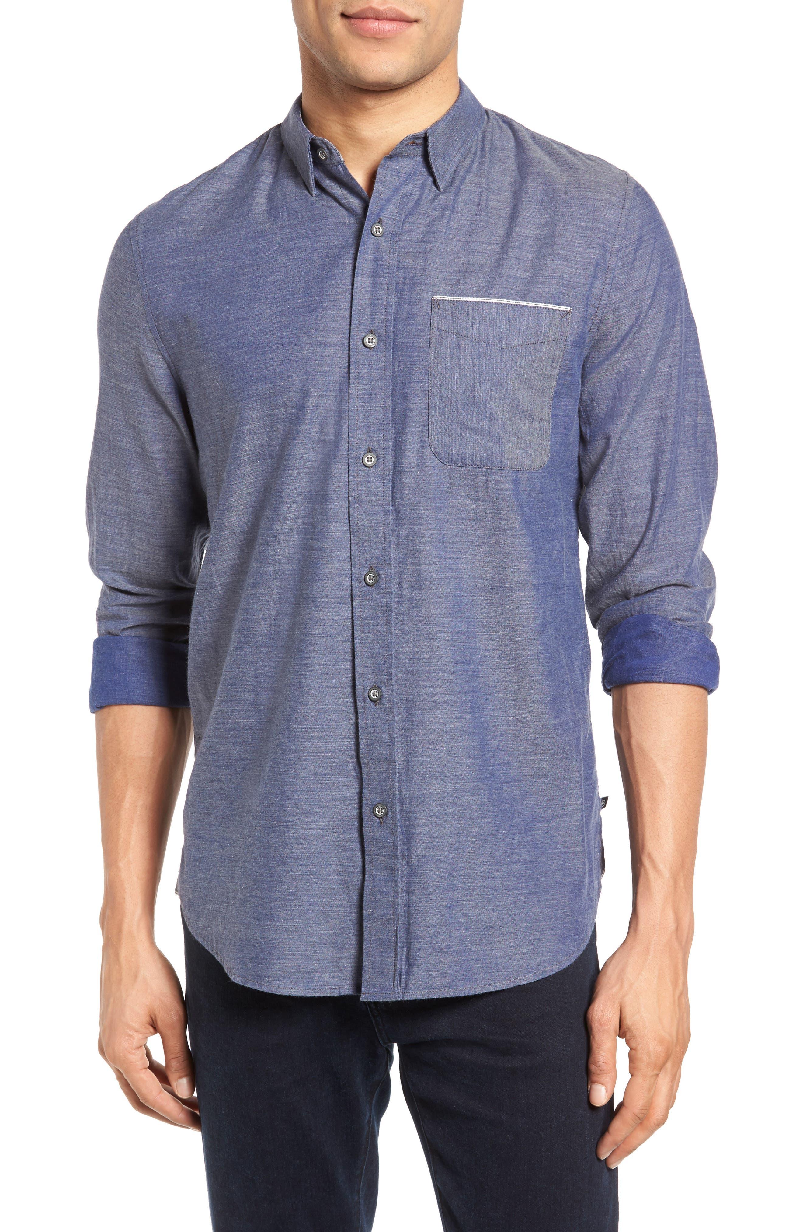 Colton Trim Fit Sport Shirt,                         Main,                         color, Heather Frontier Blue
