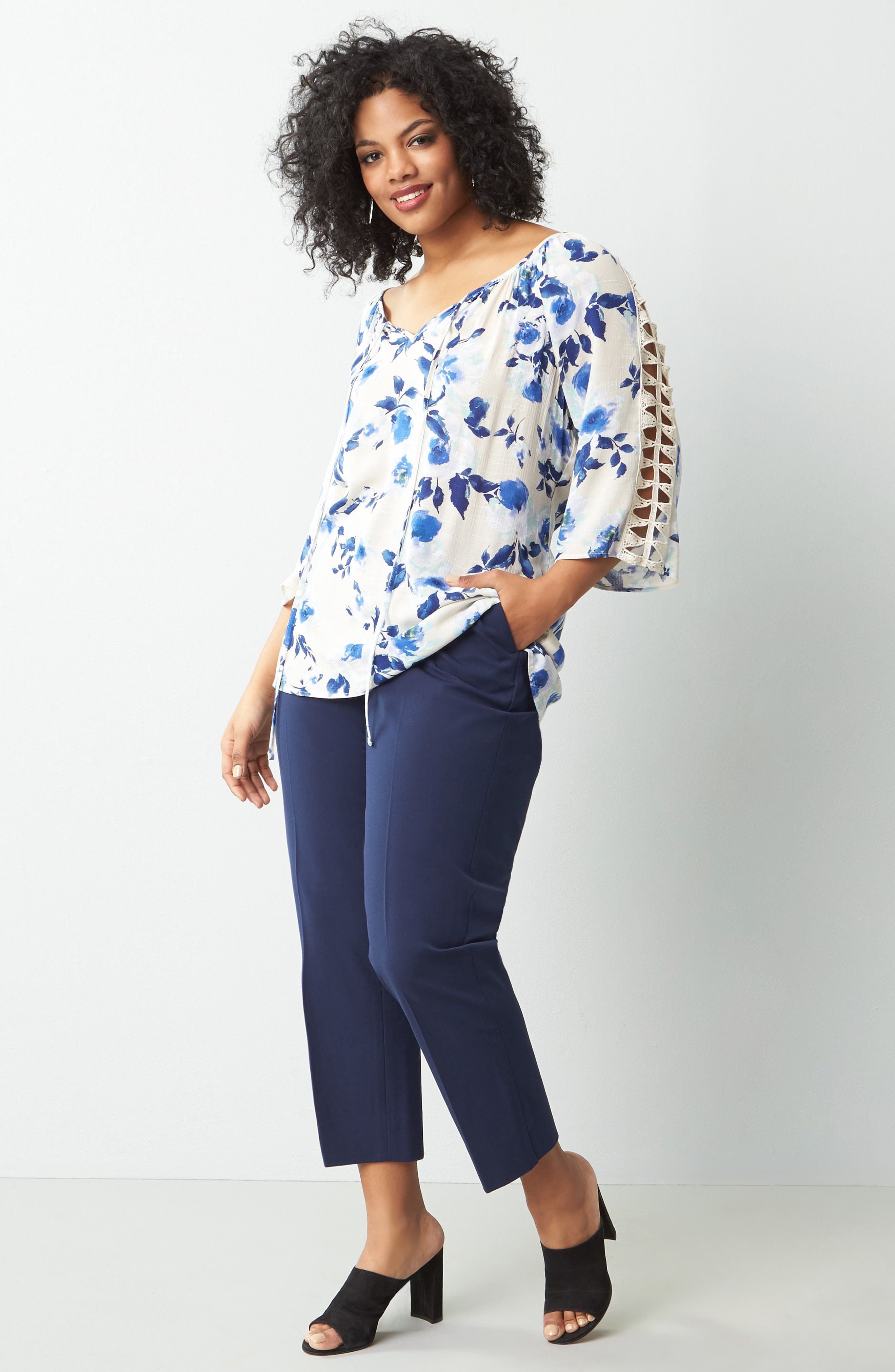 Bobeau Top & Sejour Pants Outfit with Accessories (Plus Size)