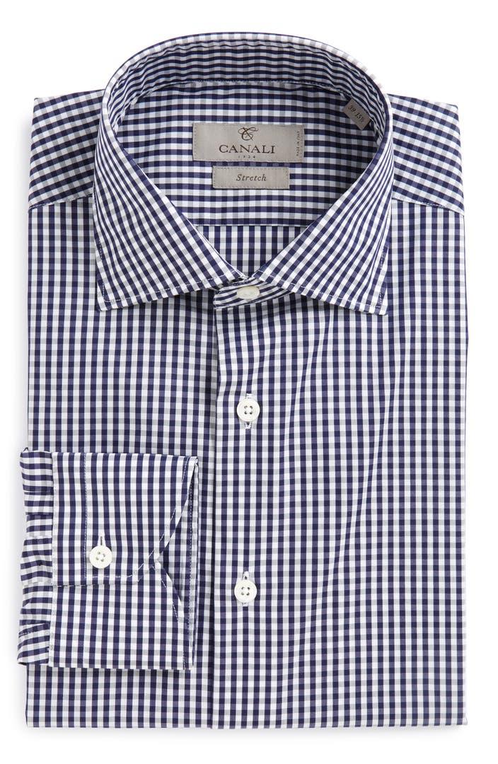 Canali regular fit check dress shirt nordstrom for Regular fit dress shirt