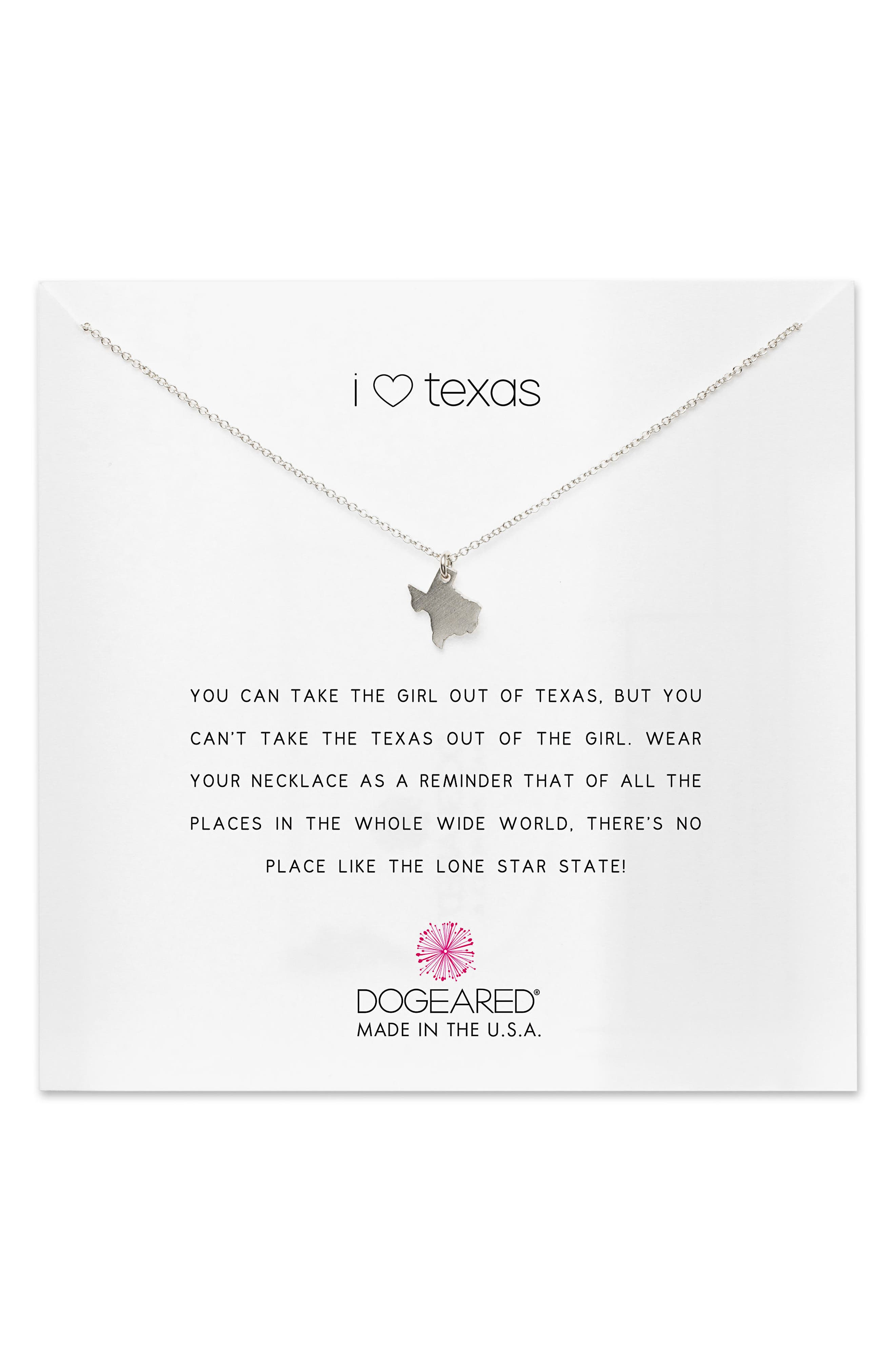 I Heart Texas Pendant Necklace,                         Main,                         color, Silver