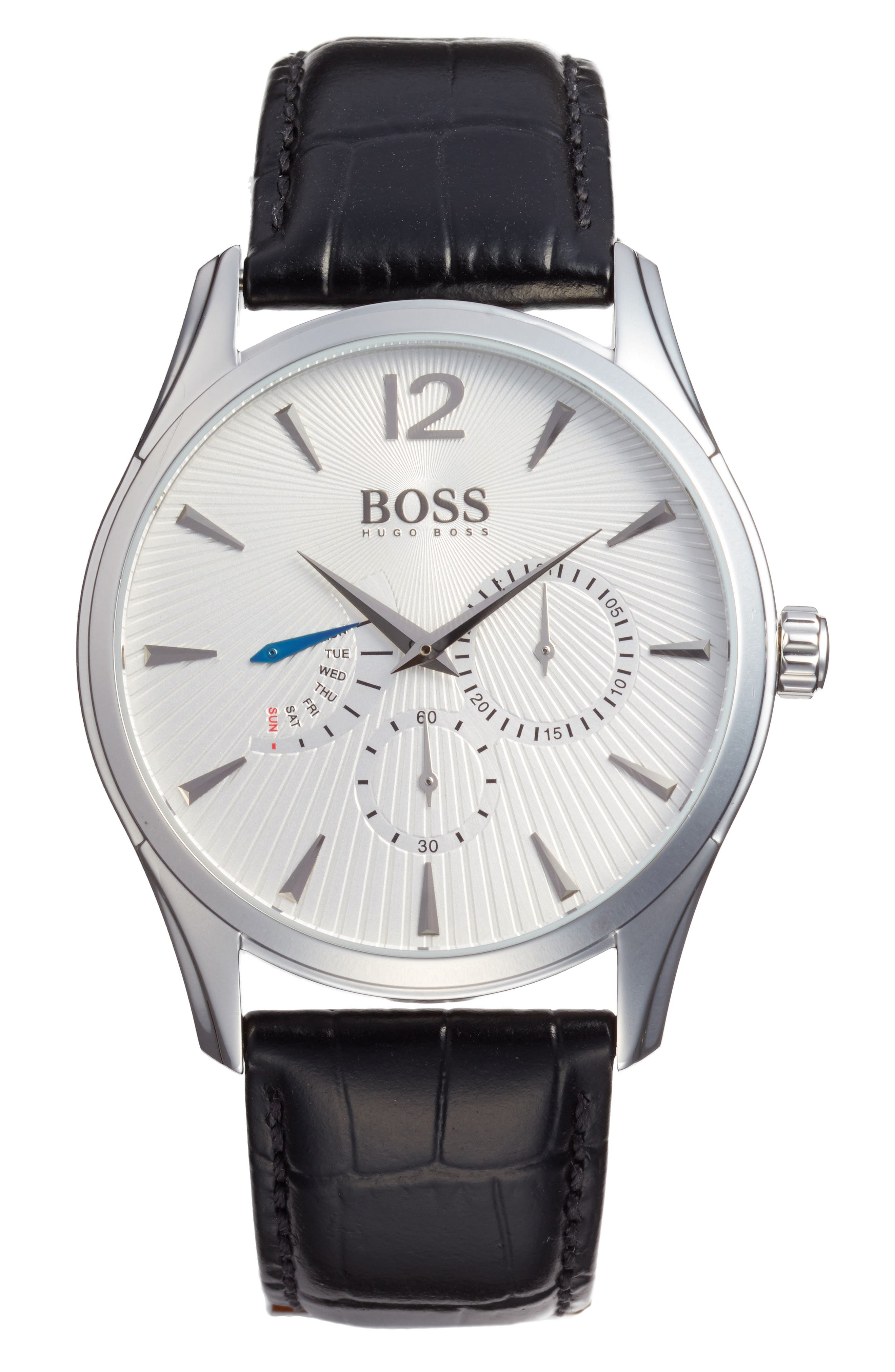 BOSS Commander Multifunction Leather Strap Watch, 41mm,                             Main thumbnail 1, color,                             Silver/ Black