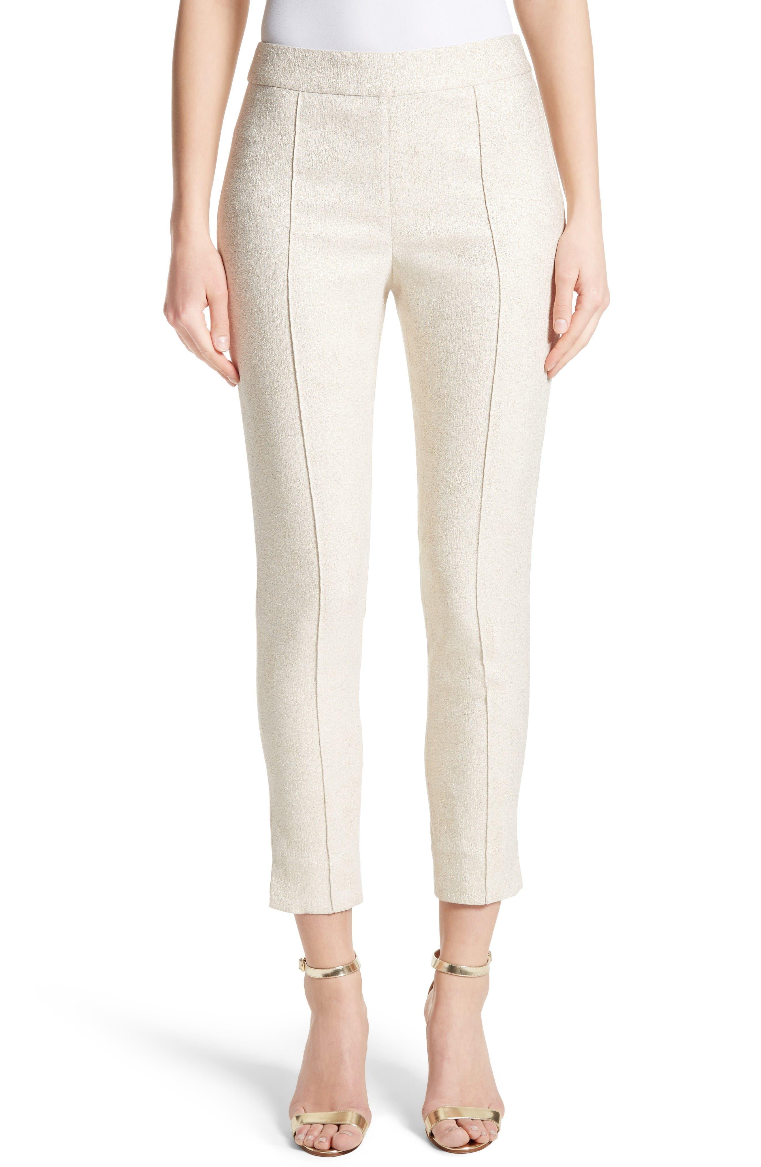 Metallic Jacquard Crop Pants,                         Main,                         color, Bianco/ Gold
