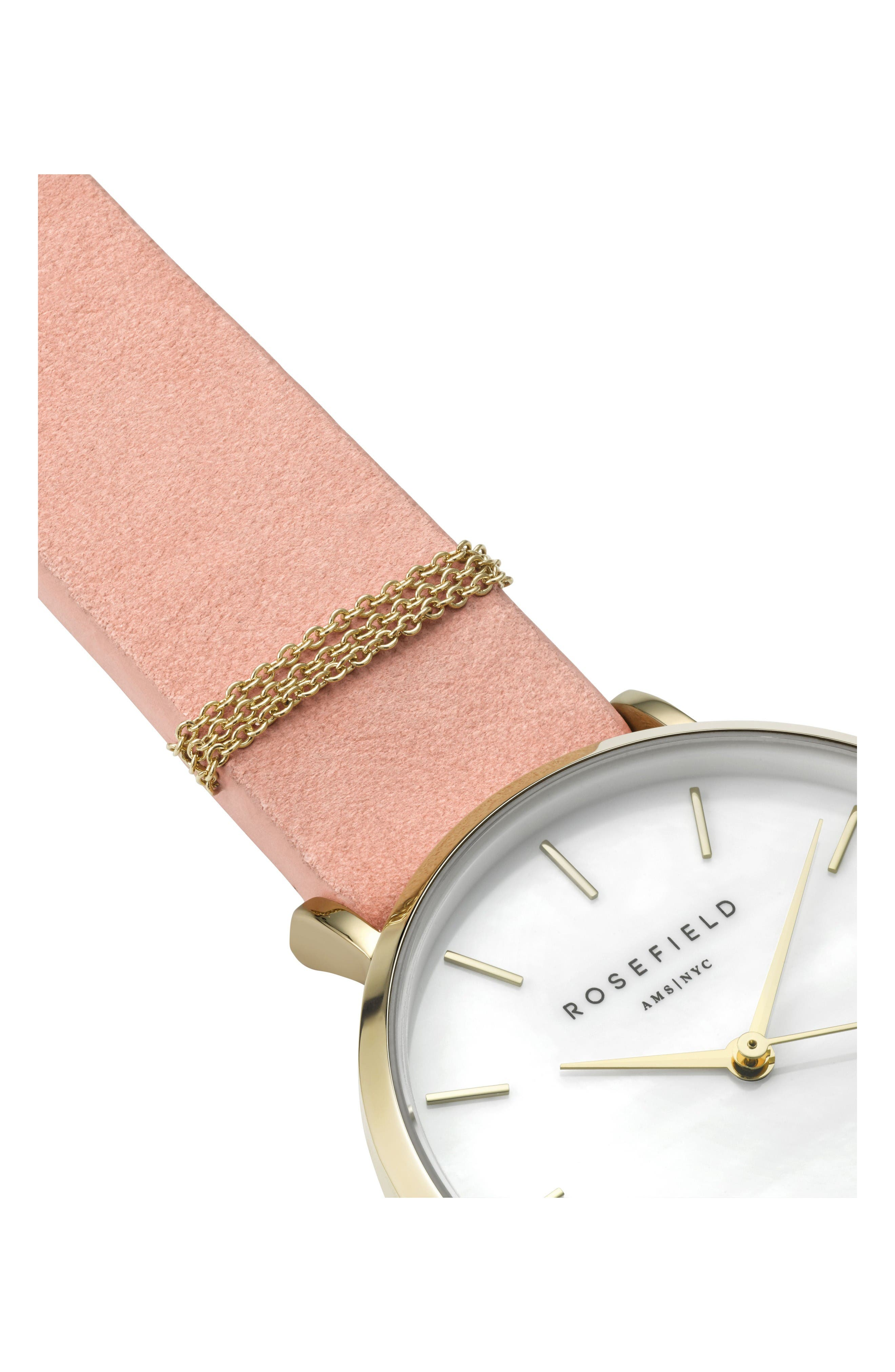 West Village Leather Strap Watch, 33mm,                             Alternate thumbnail 3, color,                             Pink/ White Pearl/ Gold