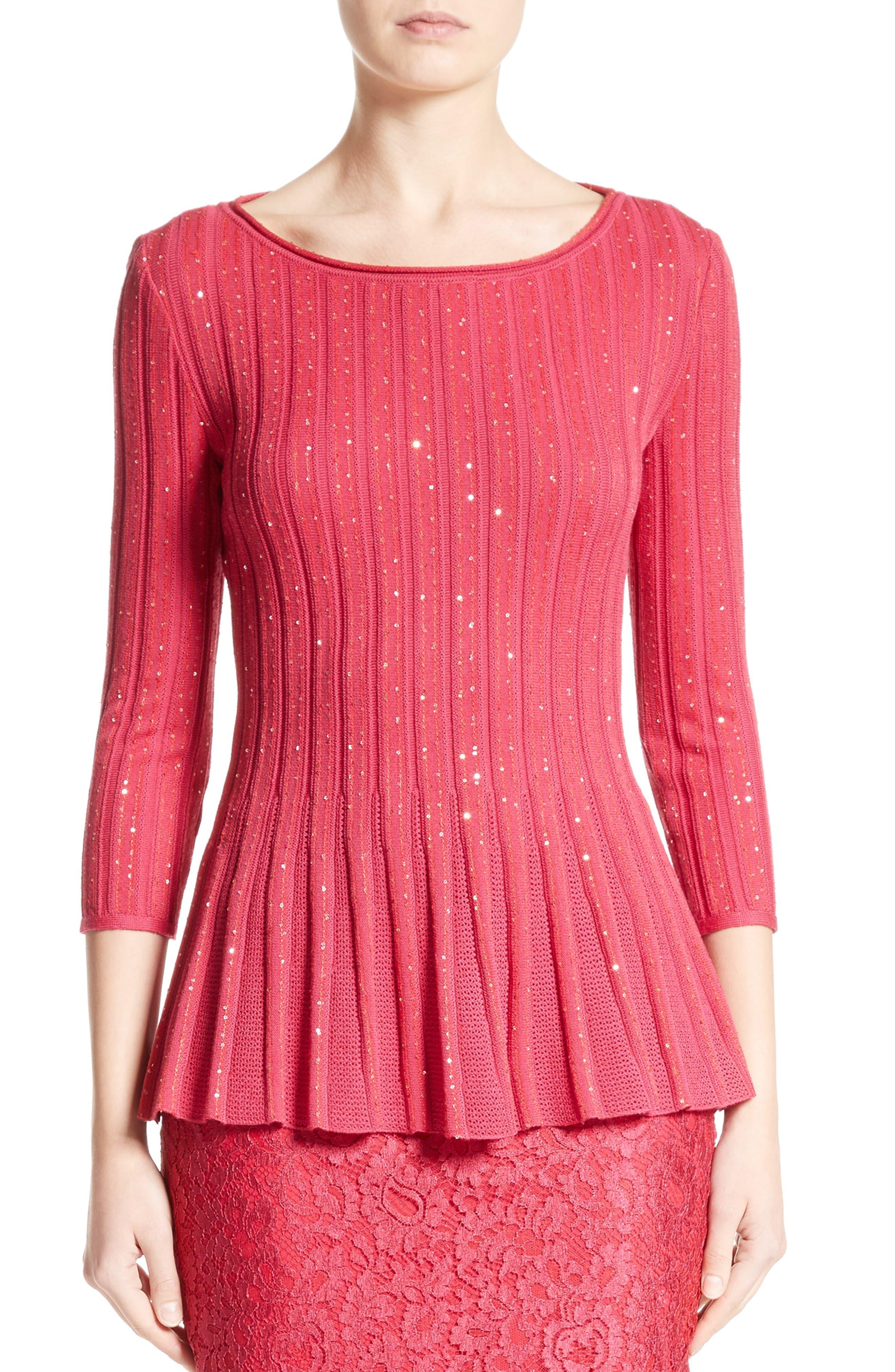 Chriag Sequin Knit Peplum Top,                         Main,                         color, Indian Rose