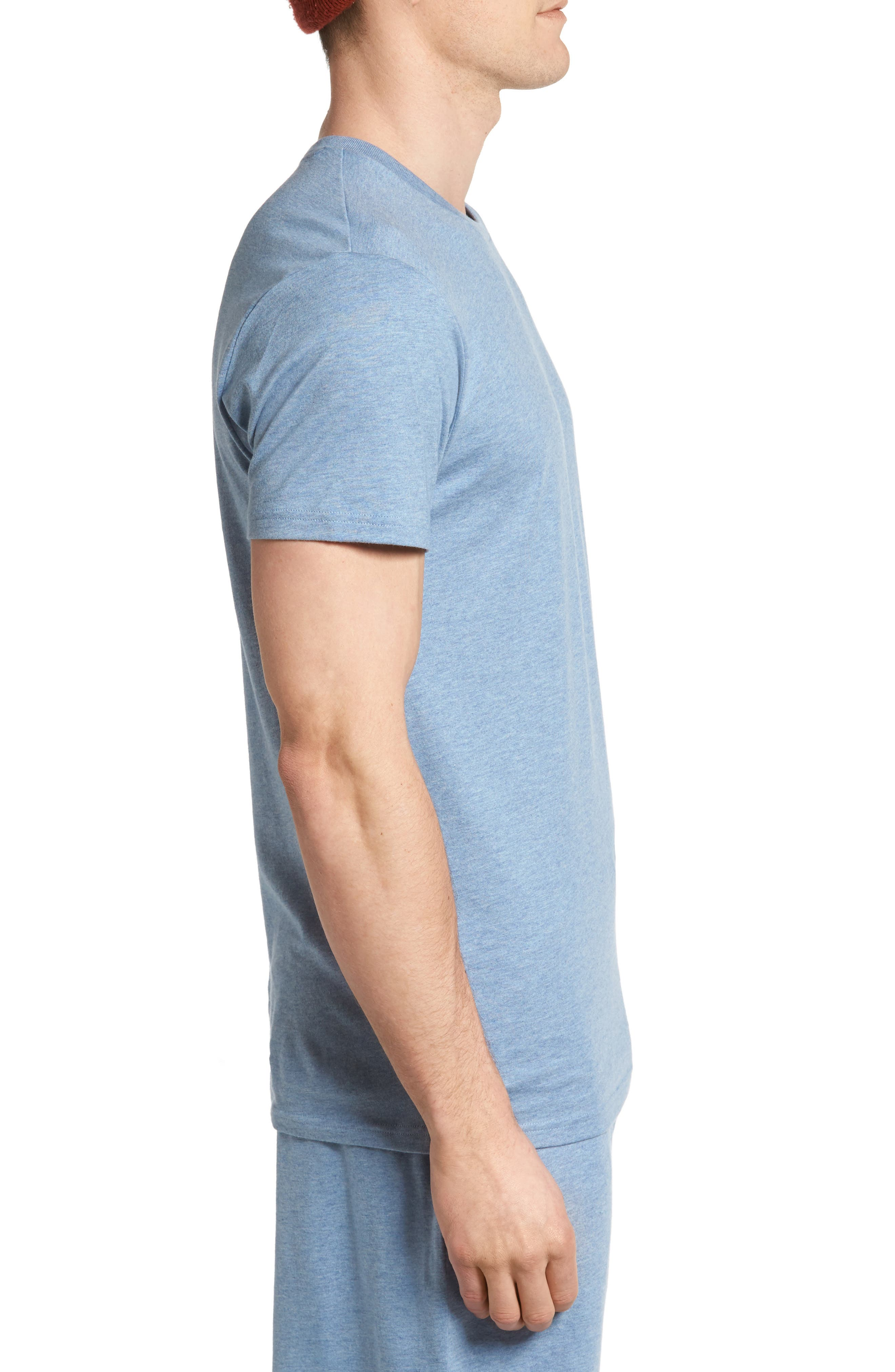 Crewneck Cotton & Modal T-Shirt,                             Alternate thumbnail 3, color,                             Blue Heather