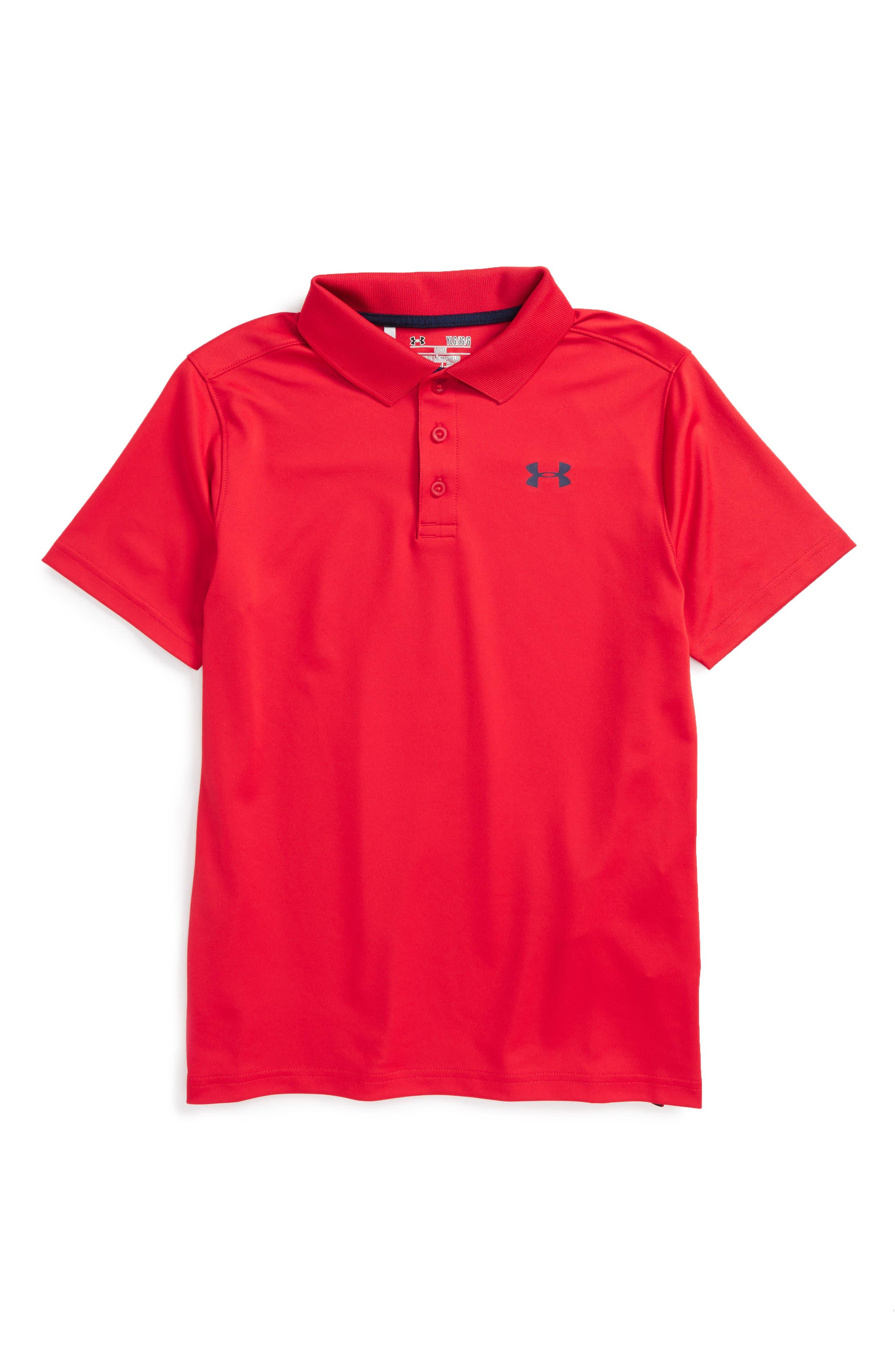 Performance HeatGear<sup>®</sup> Polo,                         Main,                         color, Red/ Academy