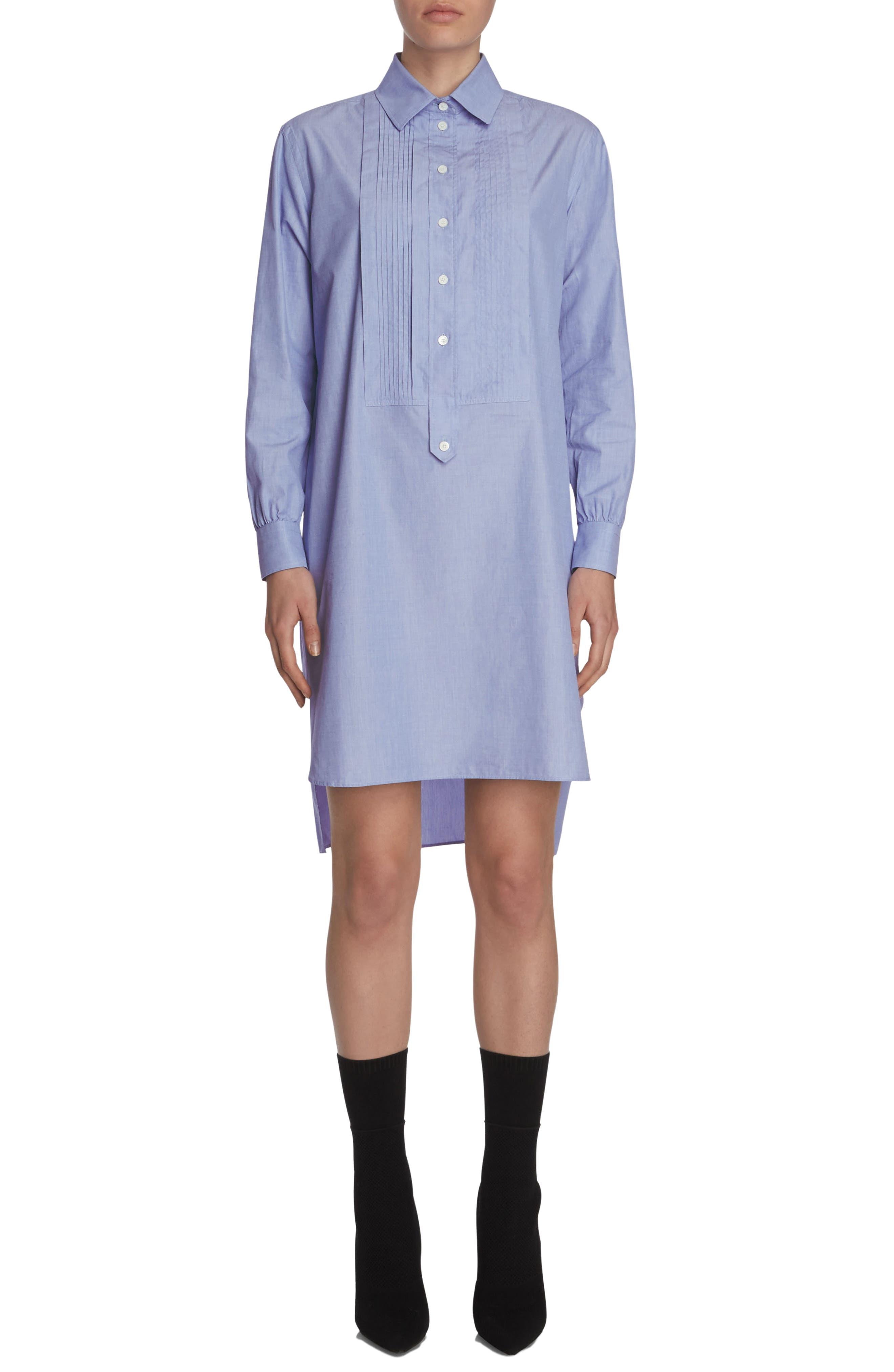 Pintuck Cotton Shirtdress,                         Main,                         color, Light Blue