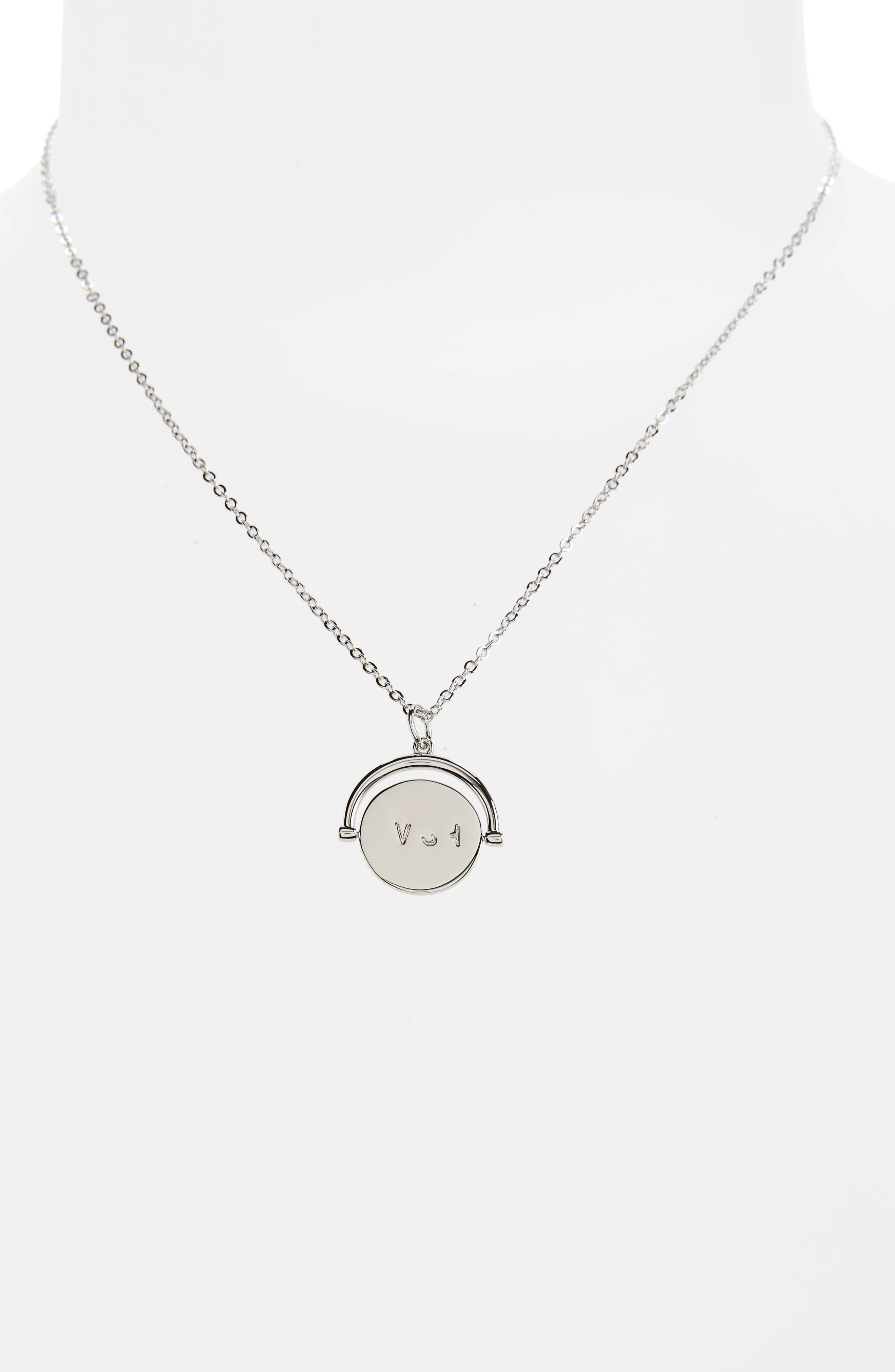 Wish Love Code Charm Necklace,                             Alternate thumbnail 3, color,                             Wish/ Silver