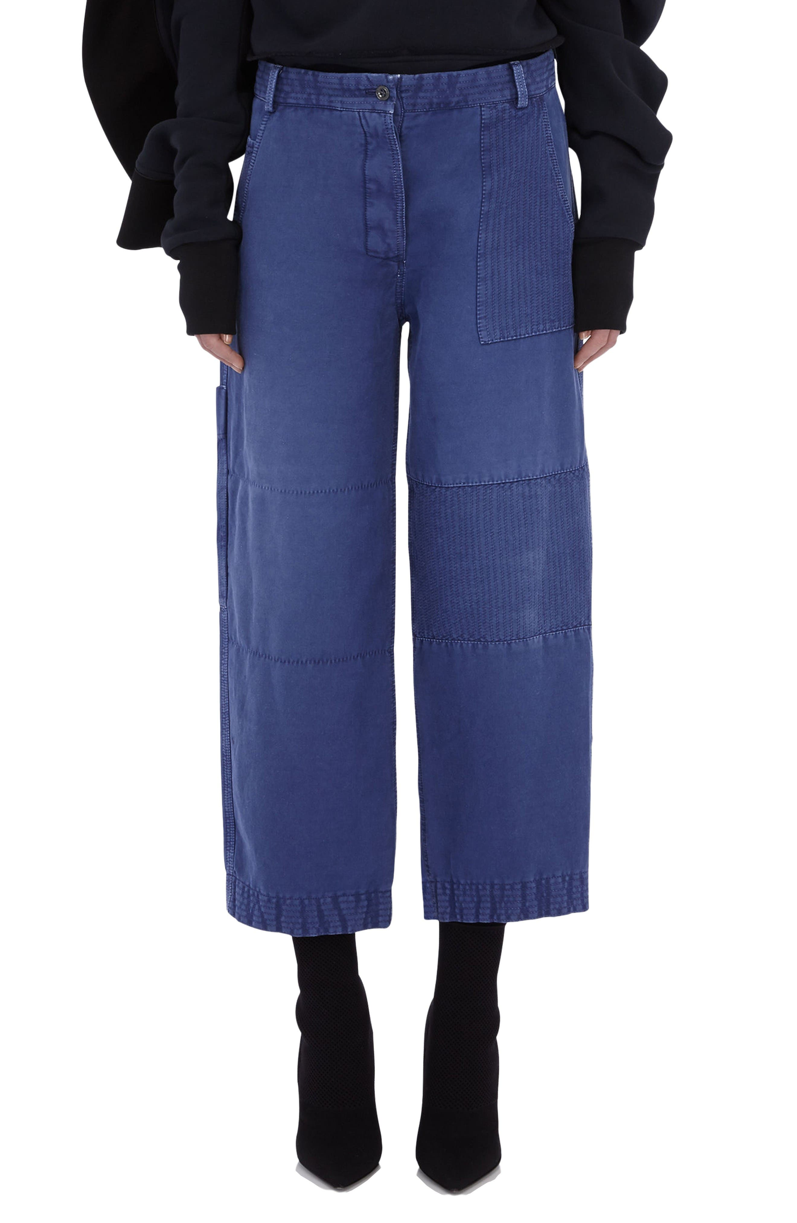 Crop Workwear Pants,                         Main,                         color, Indigo