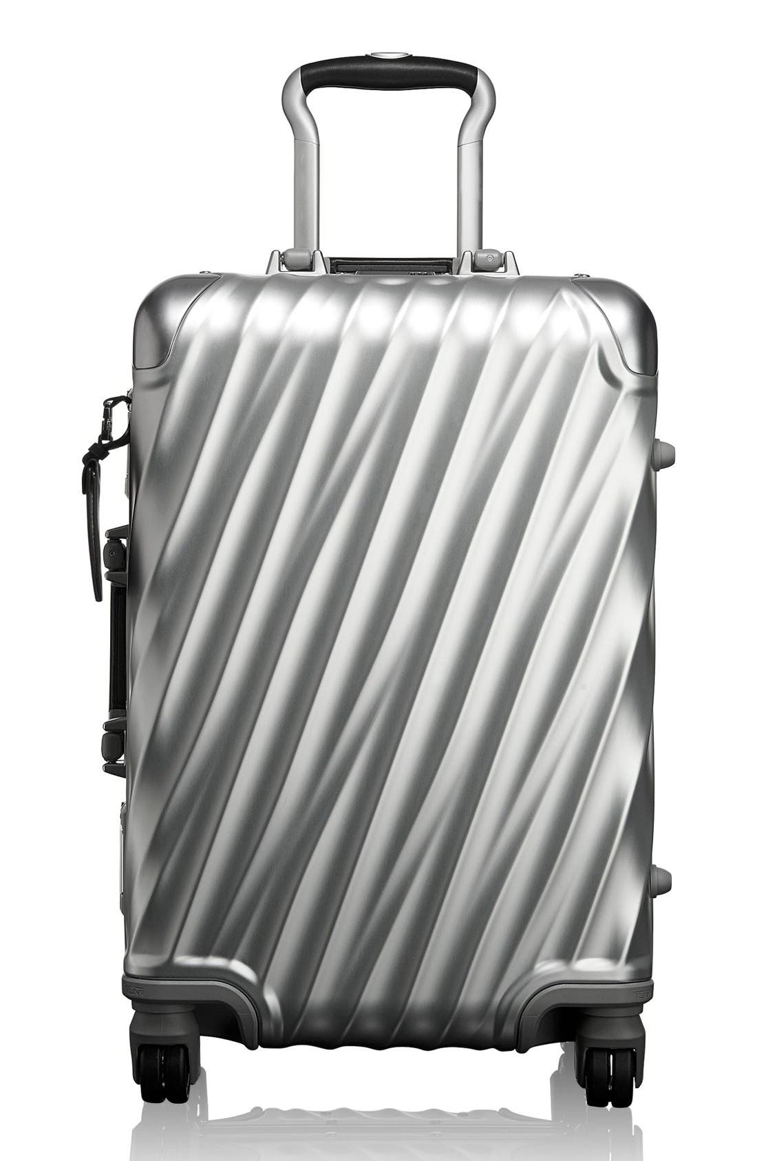 19 Degree Collection International Wheeled Aluminum Carry-On,                         Main,                         color, Silver