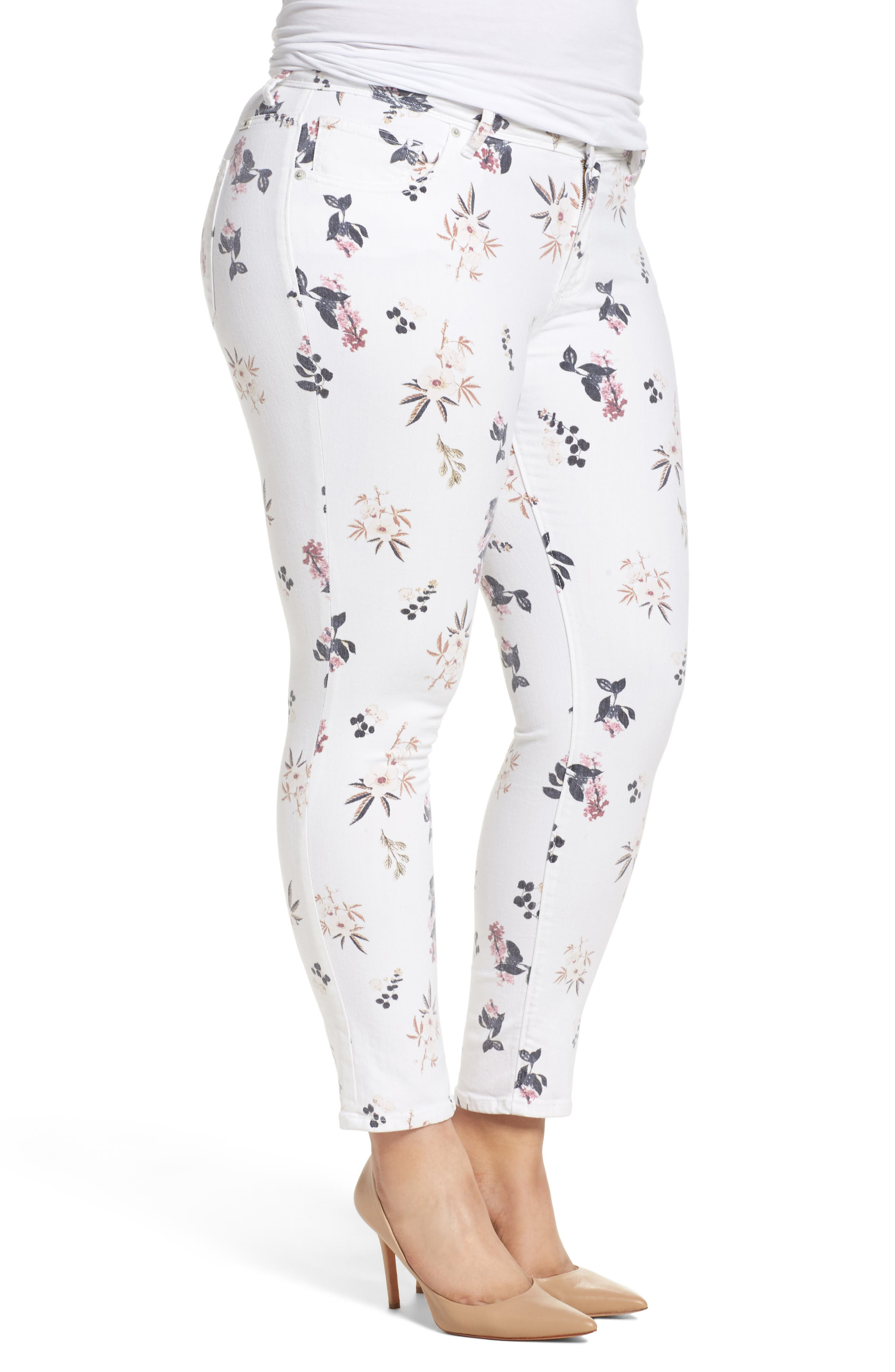 Alternate Image 3  - Lucky Brand Ginger Floral Print Skinny Jeans (Plus Size)