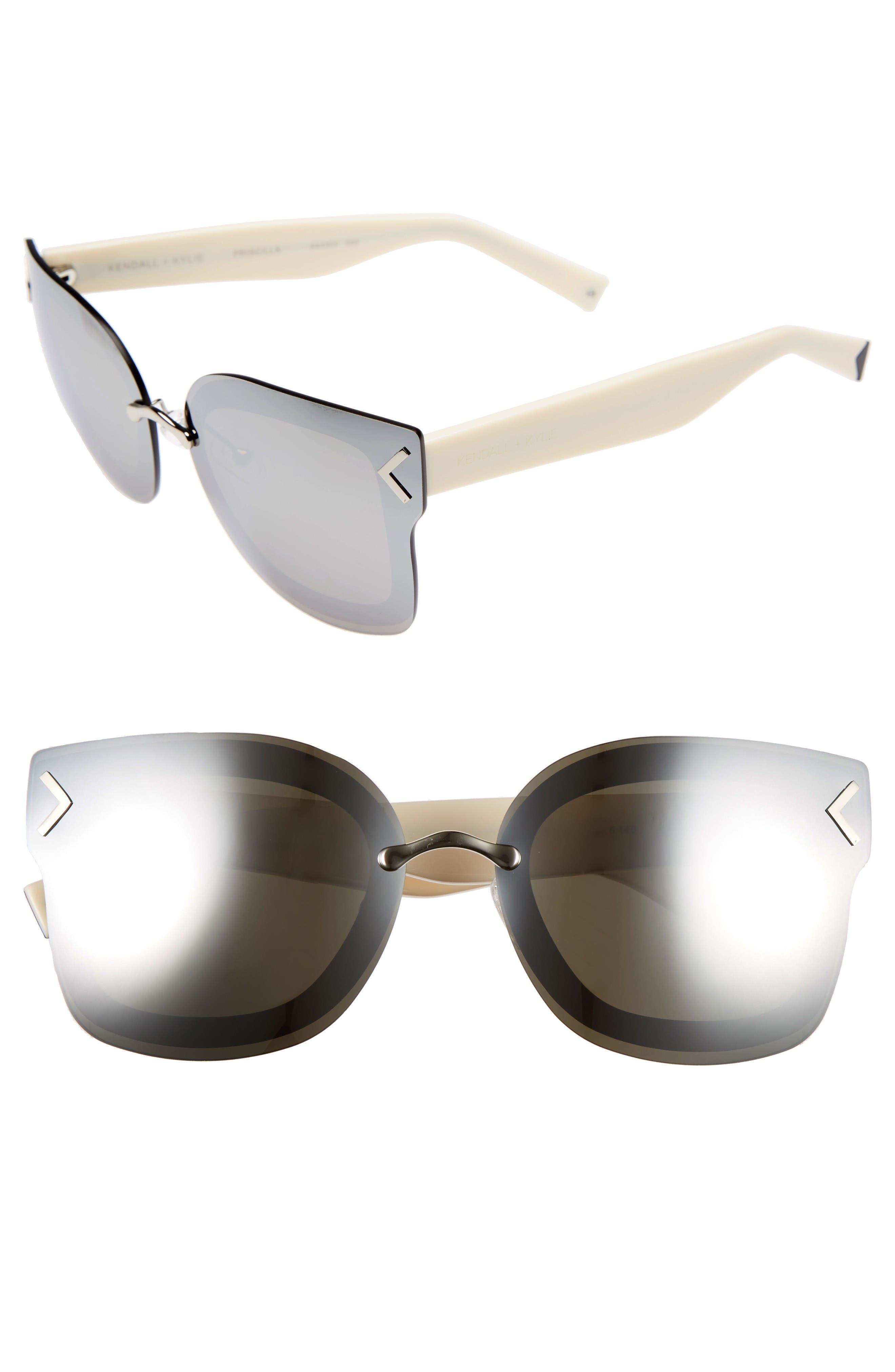 Priscilla 65mm Butterfly Sunglasses,                         Main,                         color, Silver/ Black/ Snow Leopard
