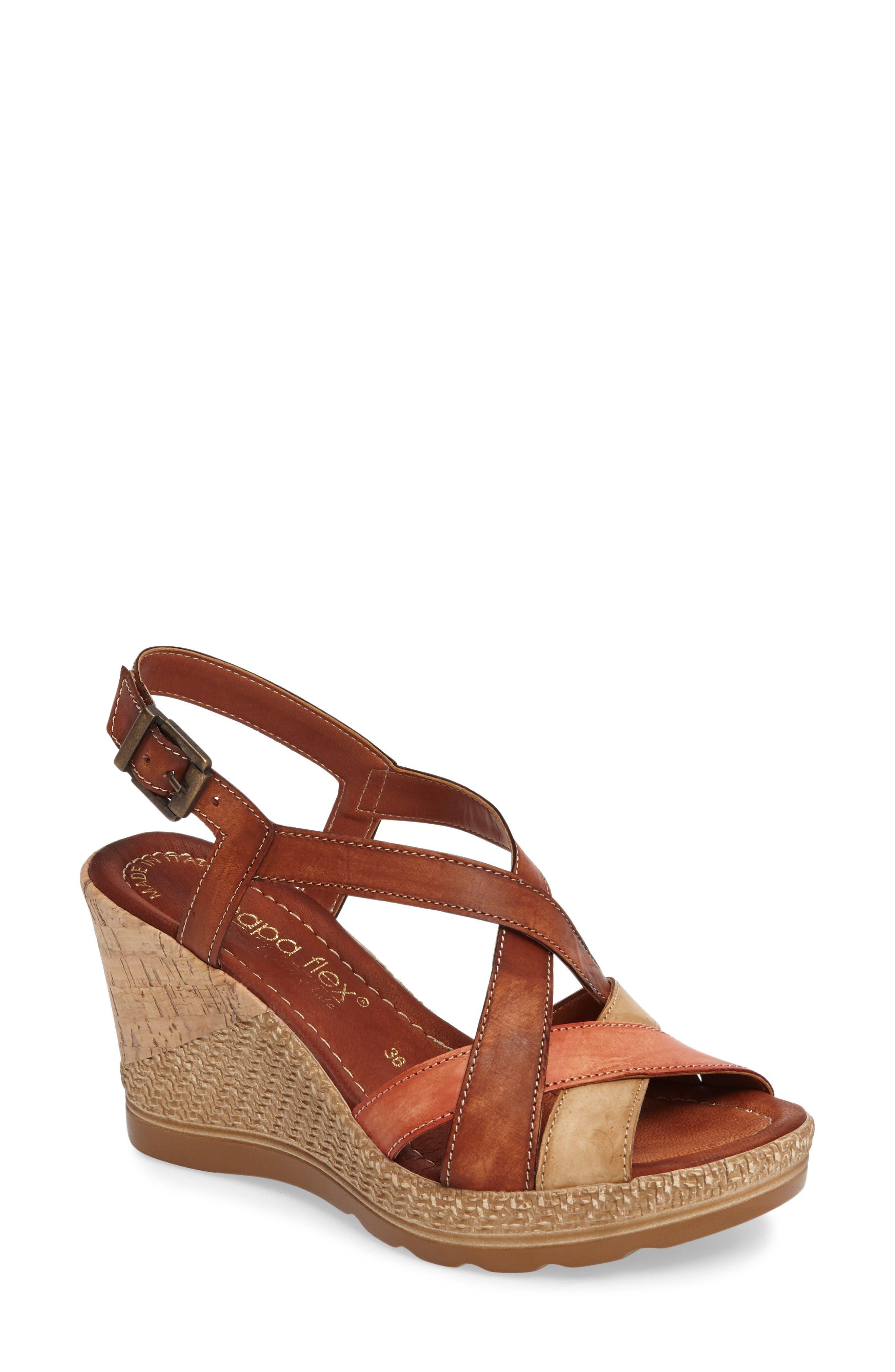 Modena Wedge Sandal,                             Main thumbnail 1, color,                             Cognac Leather