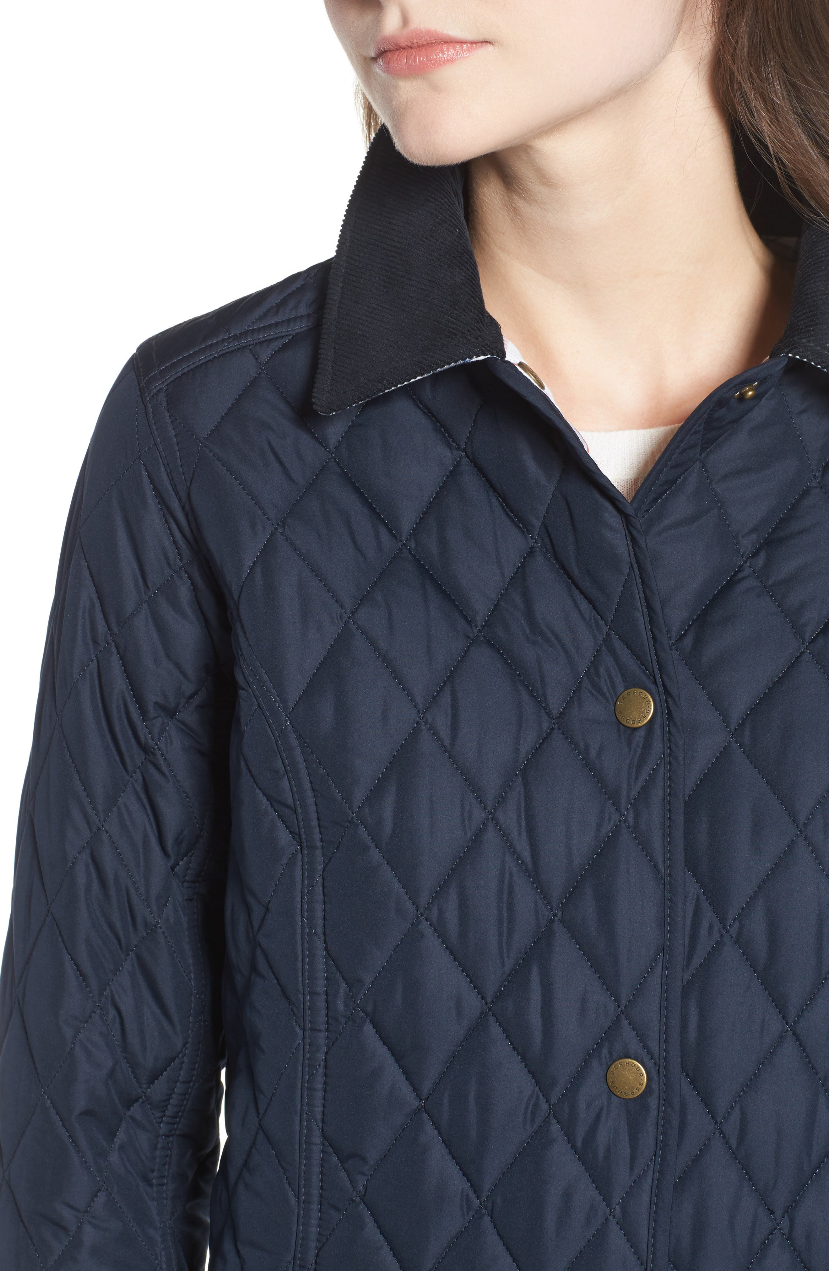 Spring Annandale Quilted Jacket,                             Alternate thumbnail 4, color,                             Navy/ Summer Tartan