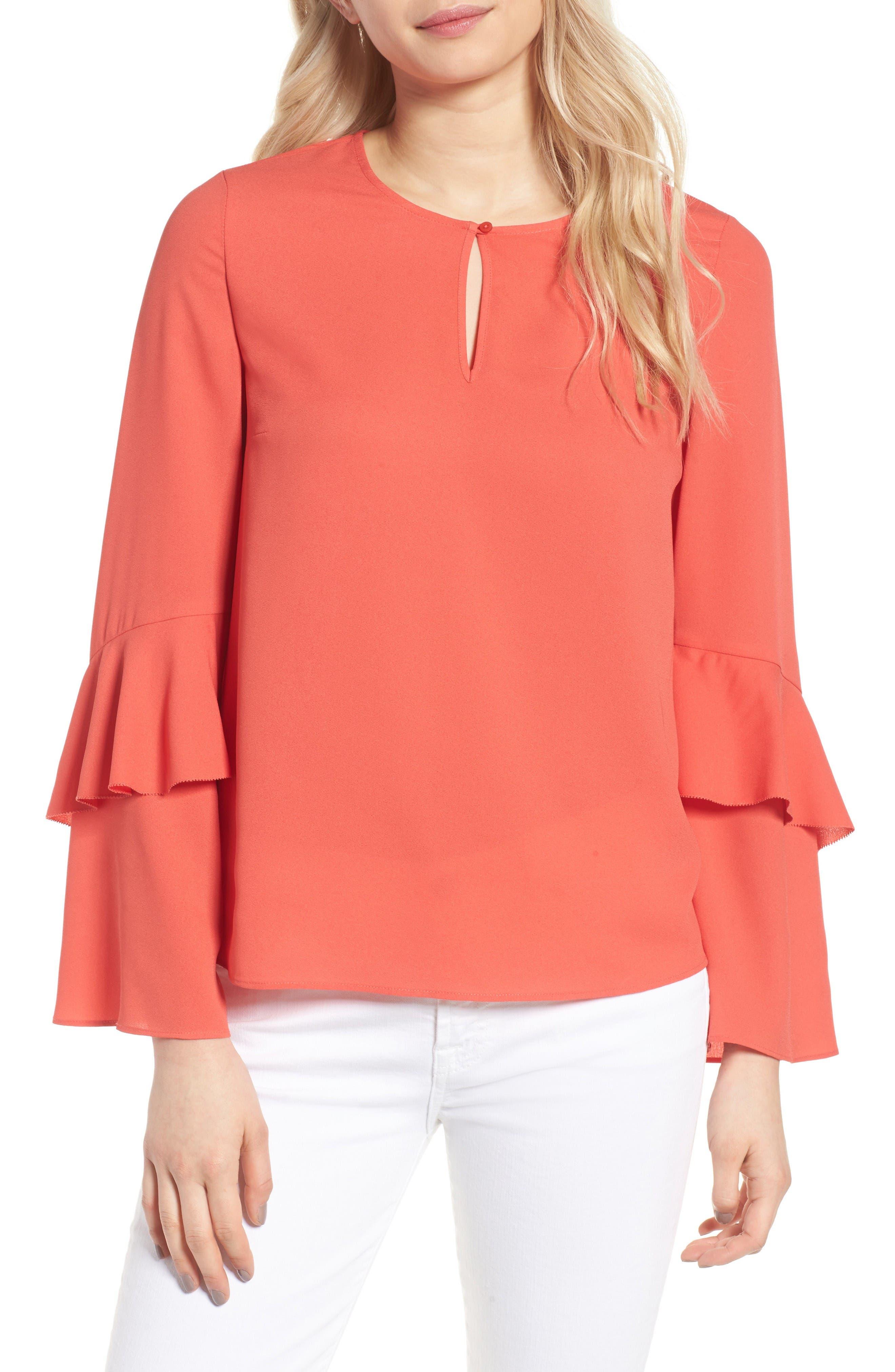 Agatha Ruffle Blouse,                         Main,                         color, Orange