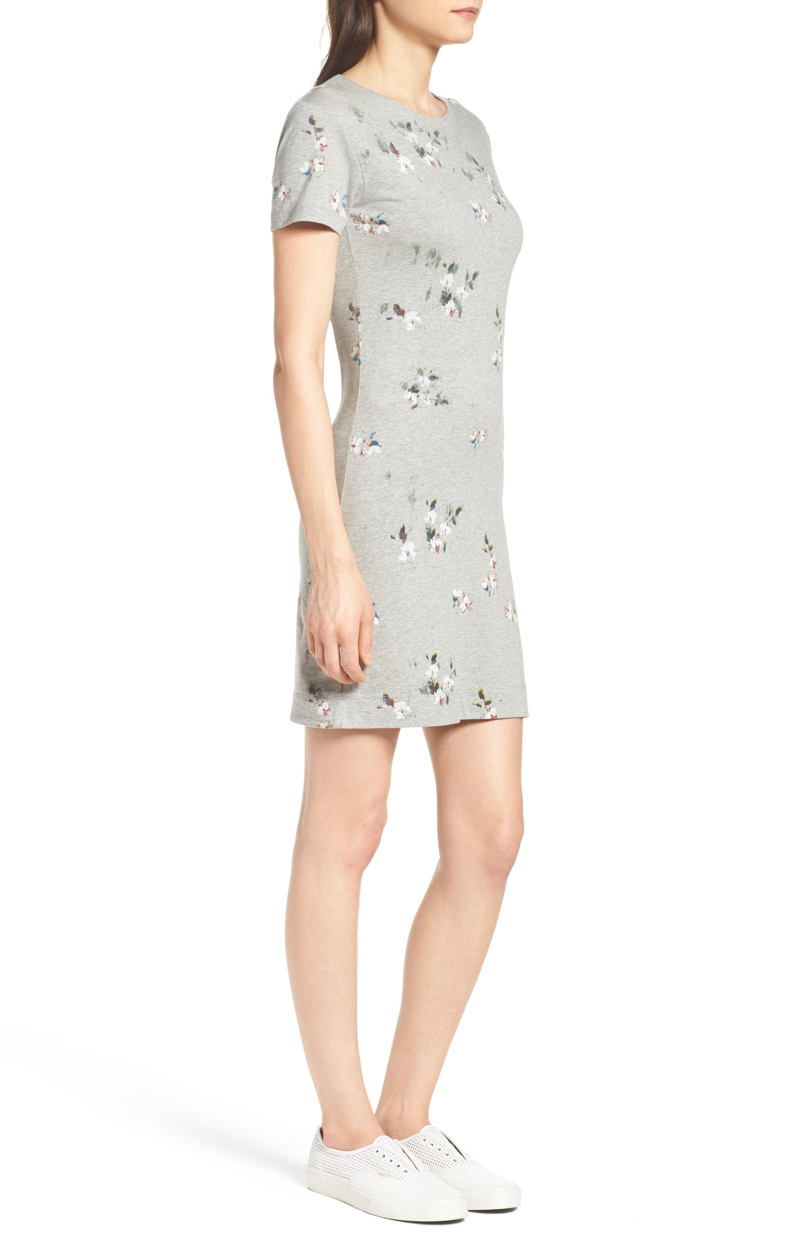 Blossom T-Shirt Dress,                             Alternate thumbnail 3, color,                             Grey