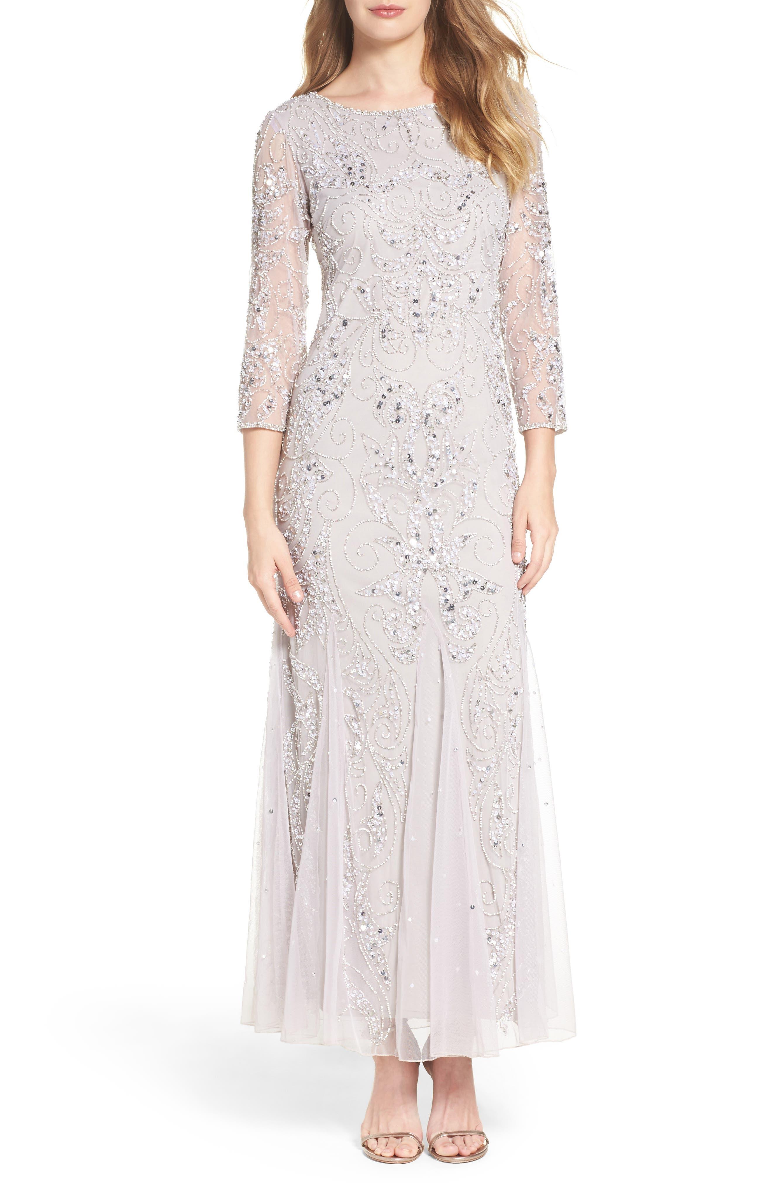 Pisarro Beaded Mesh Evening Dress