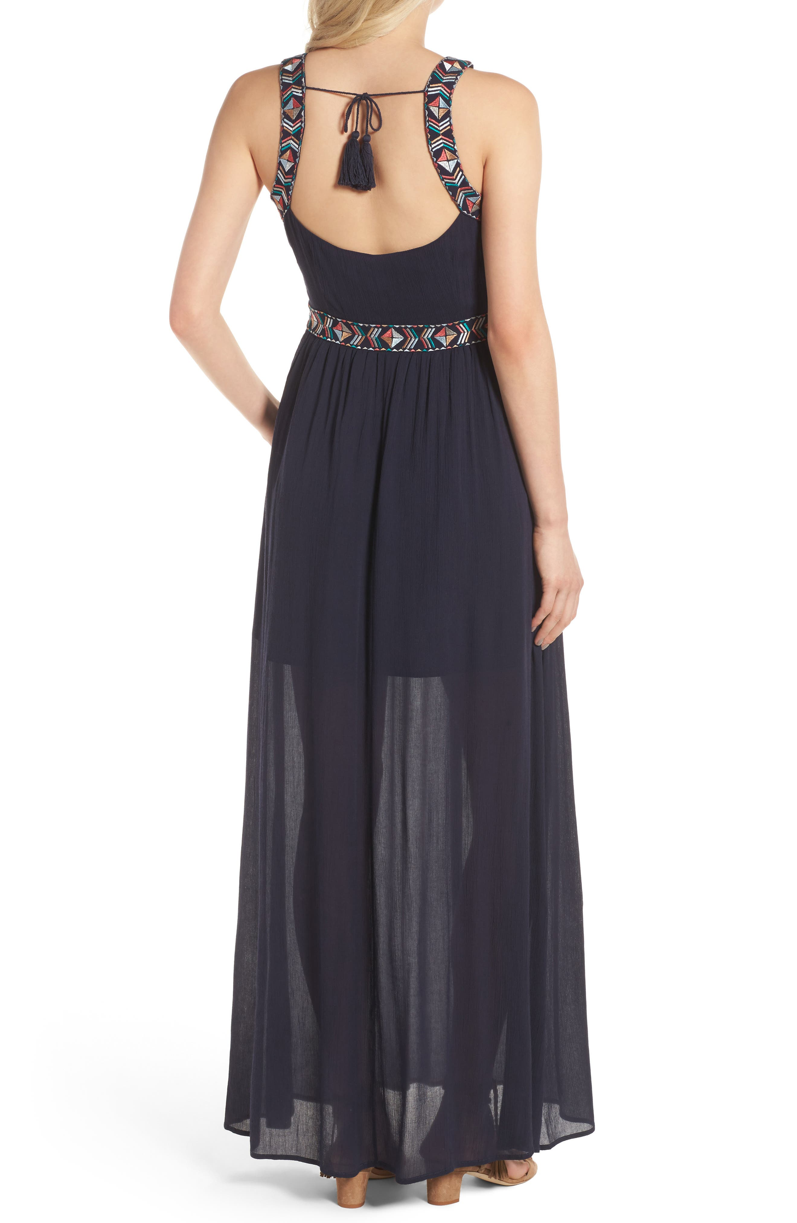 Kerrine Embroidered Maxi Dress,                             Alternate thumbnail 2, color,                             Ink