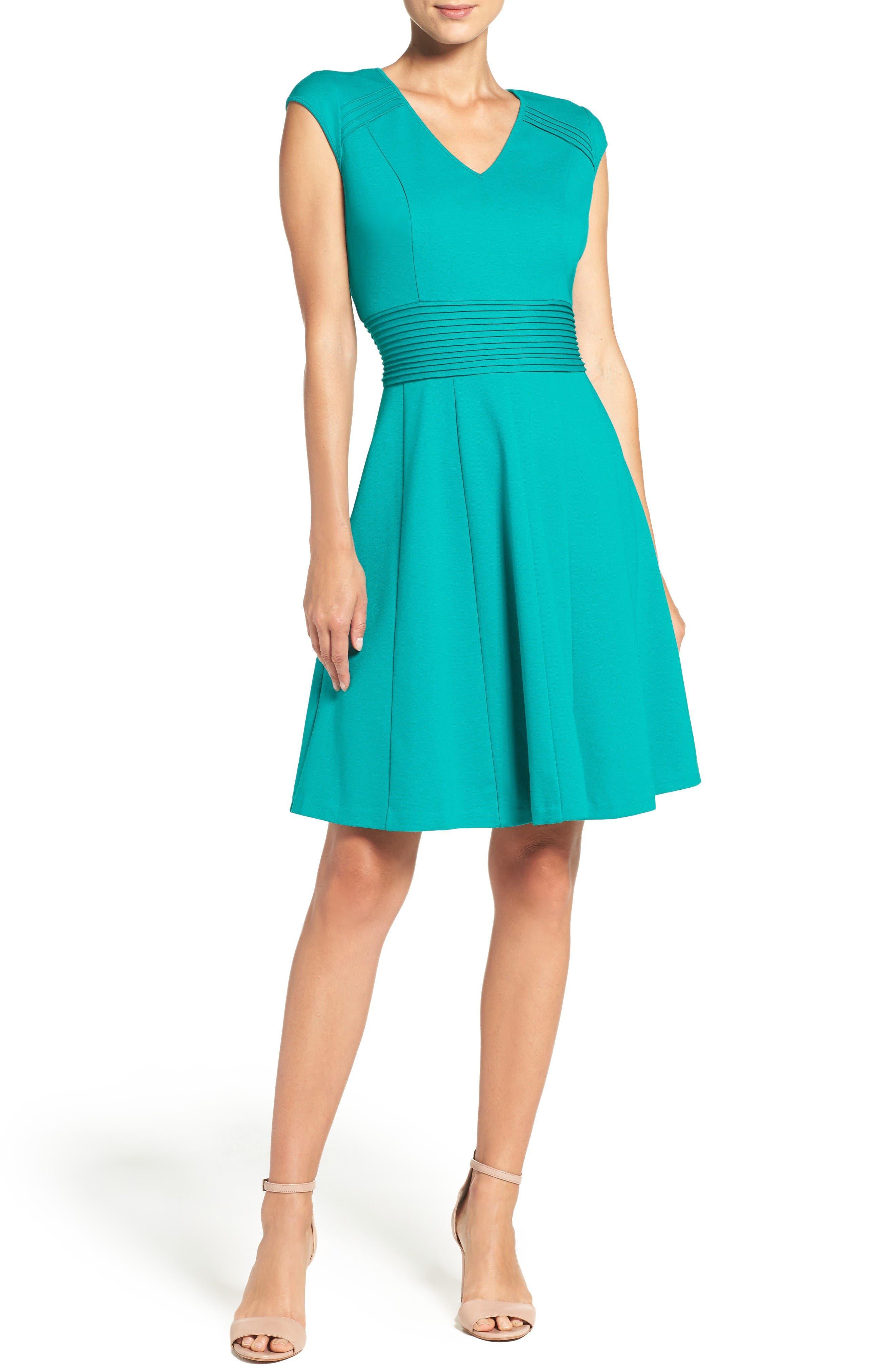 Ponte Fit & Flare Dress,                             Alternate thumbnail 4, color,                             Teal