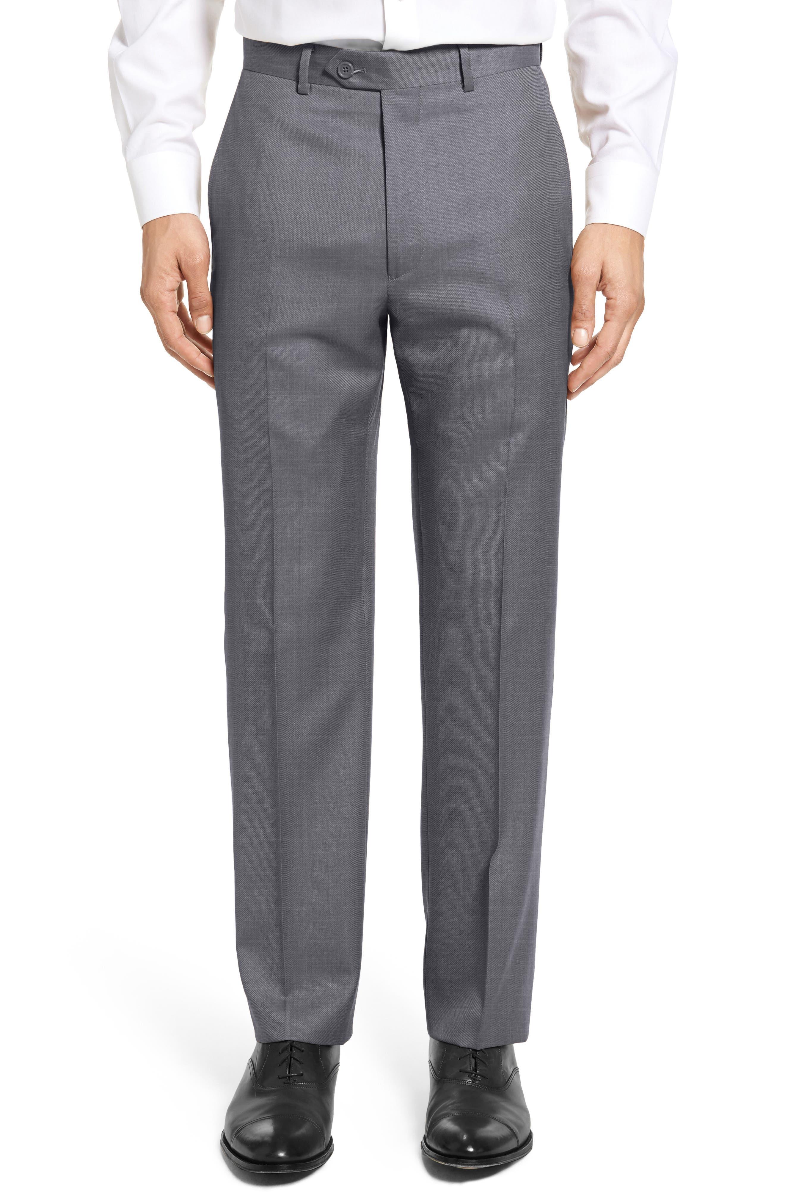 SANTORELLI Flat Front Twill Wool Trousers in Medium Grey
