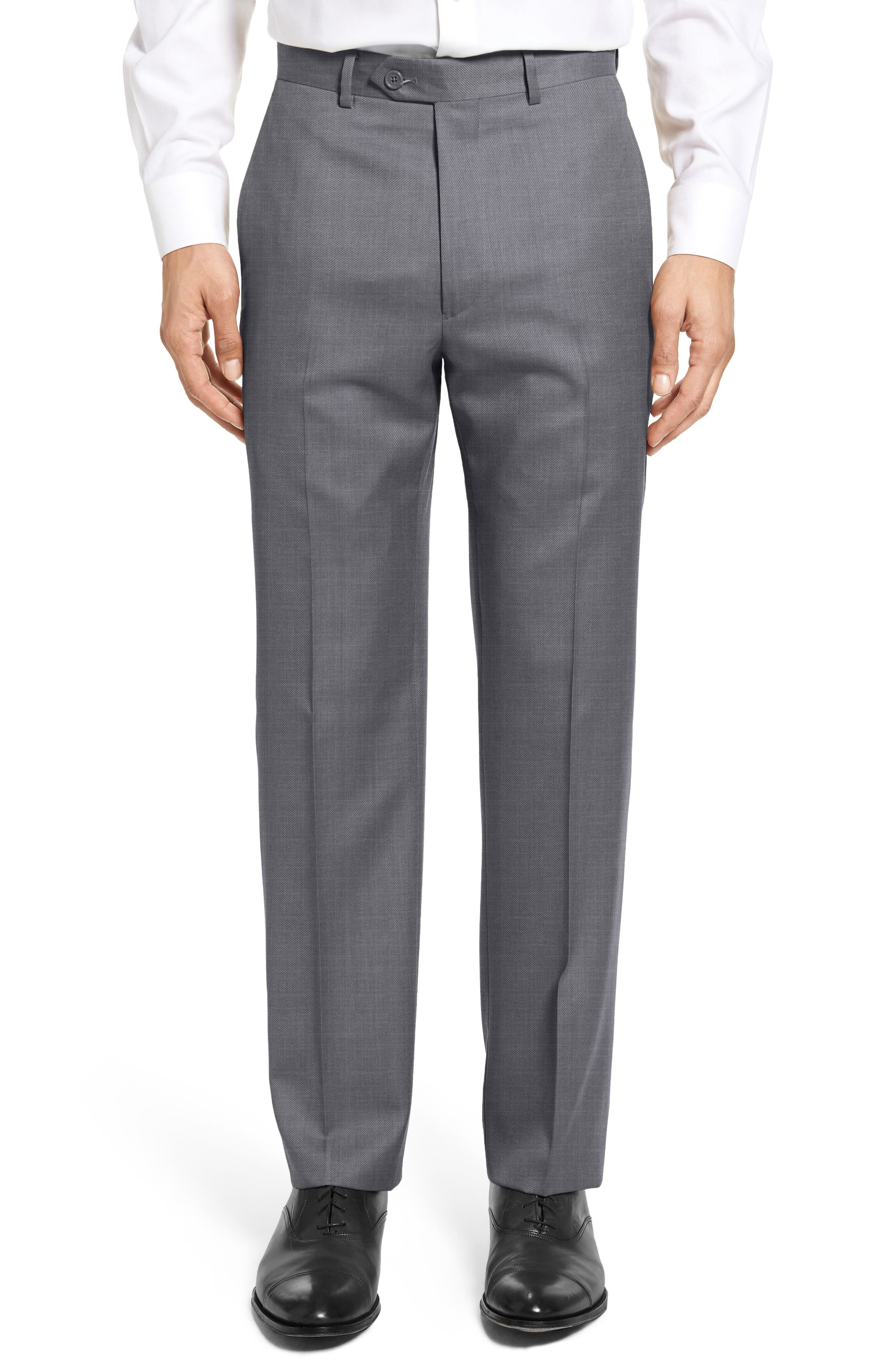 Flat Front Twill Wool Trousers,                         Main,                         color, Medium Grey