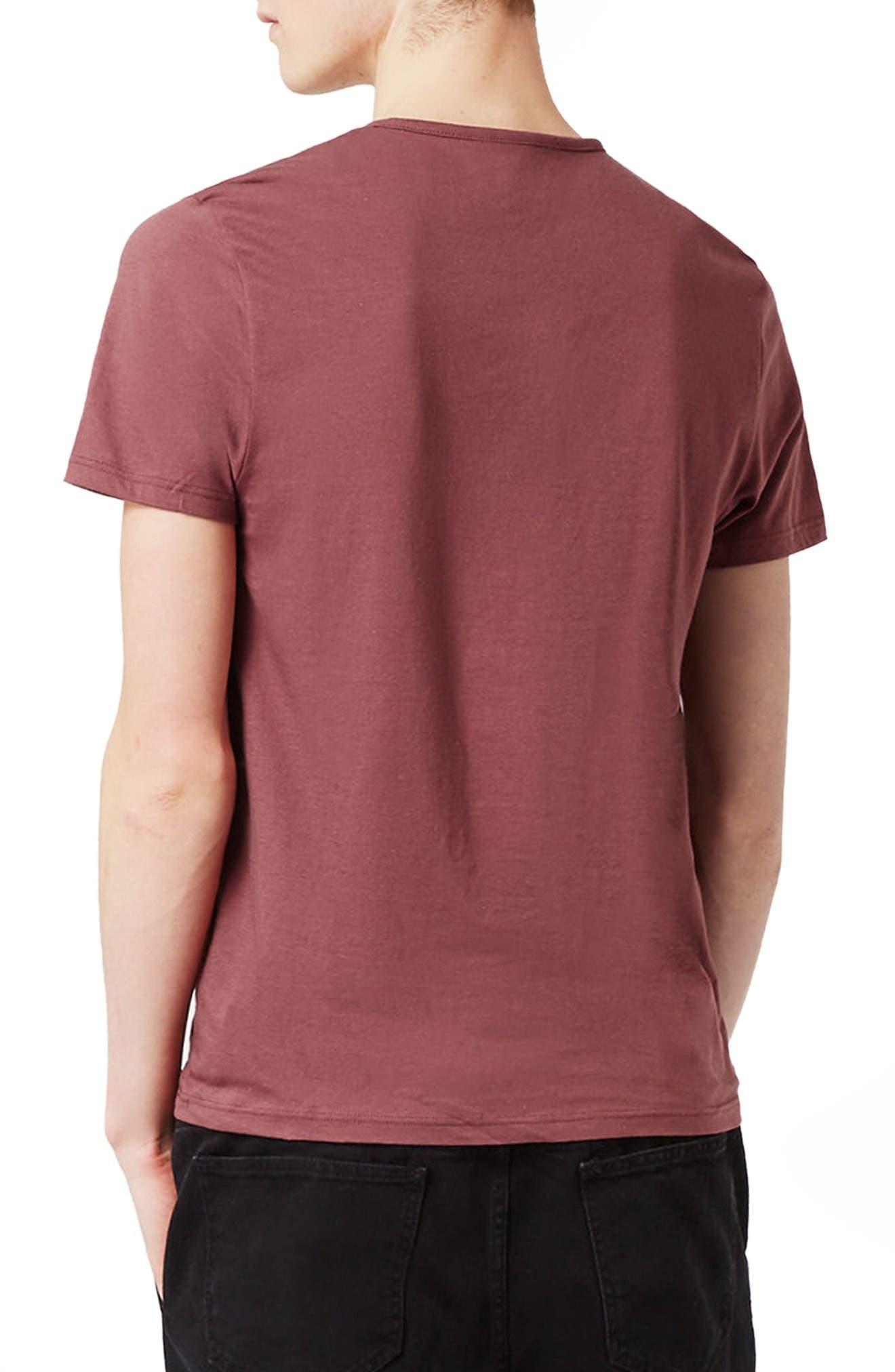 Short Sleeve Henley T-Shirt,                             Alternate thumbnail 3, color,                             Light Red