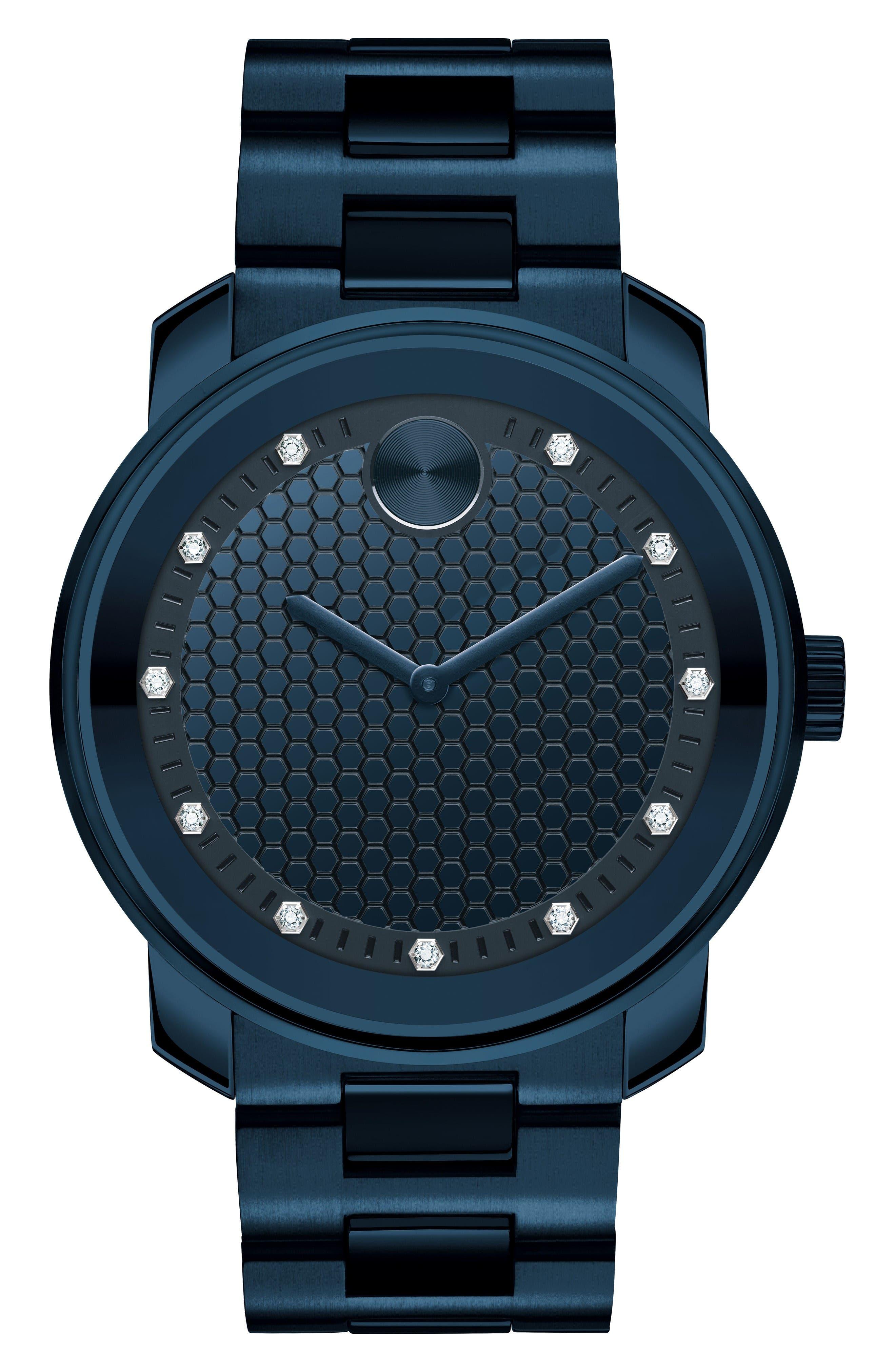 Bold Diamond Bracelet Watch, 42.5mm,                         Main,                         color, Navy