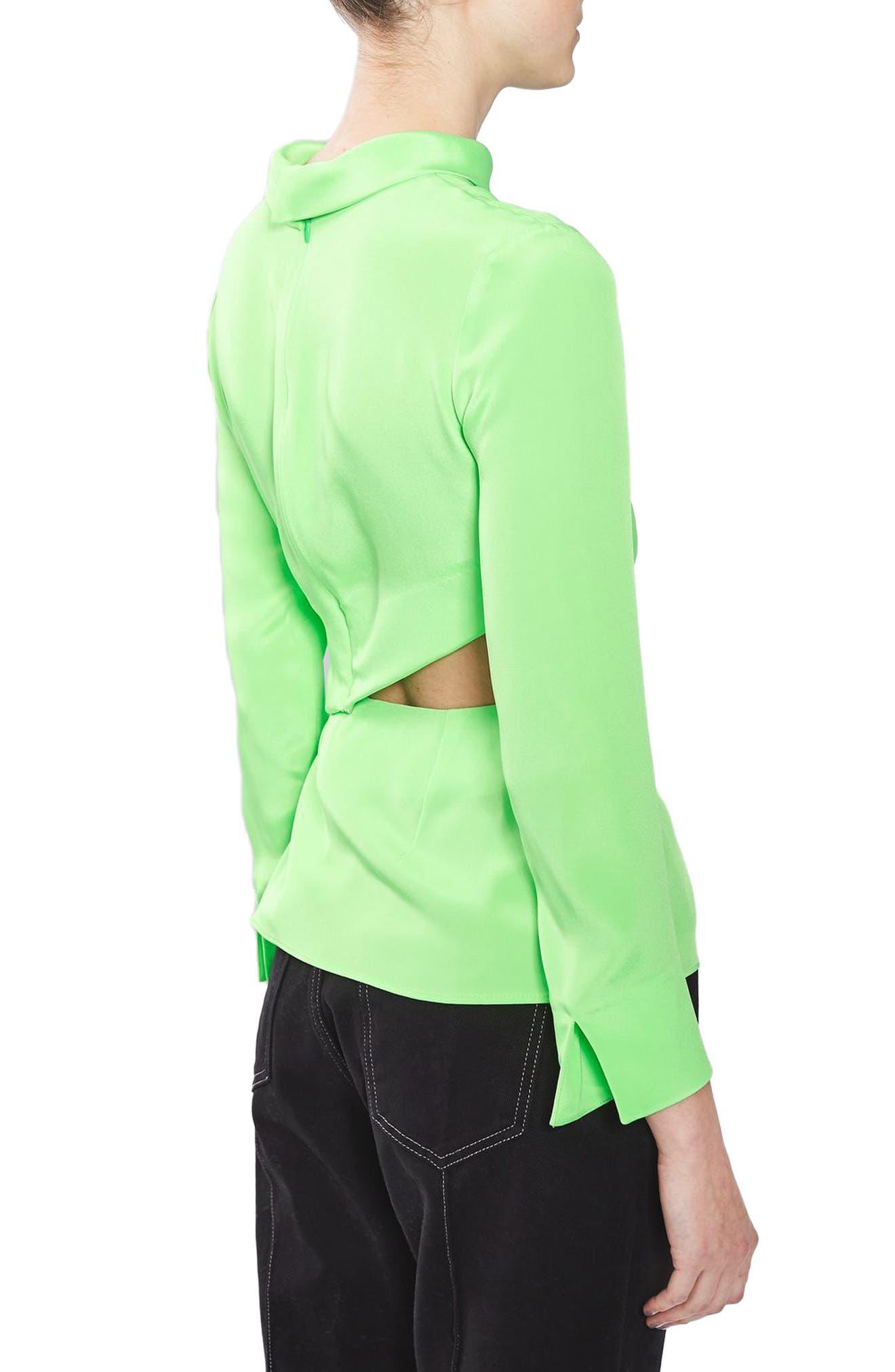 Twist Cutout Silk Top,                             Alternate thumbnail 2, color,                             Bright Green