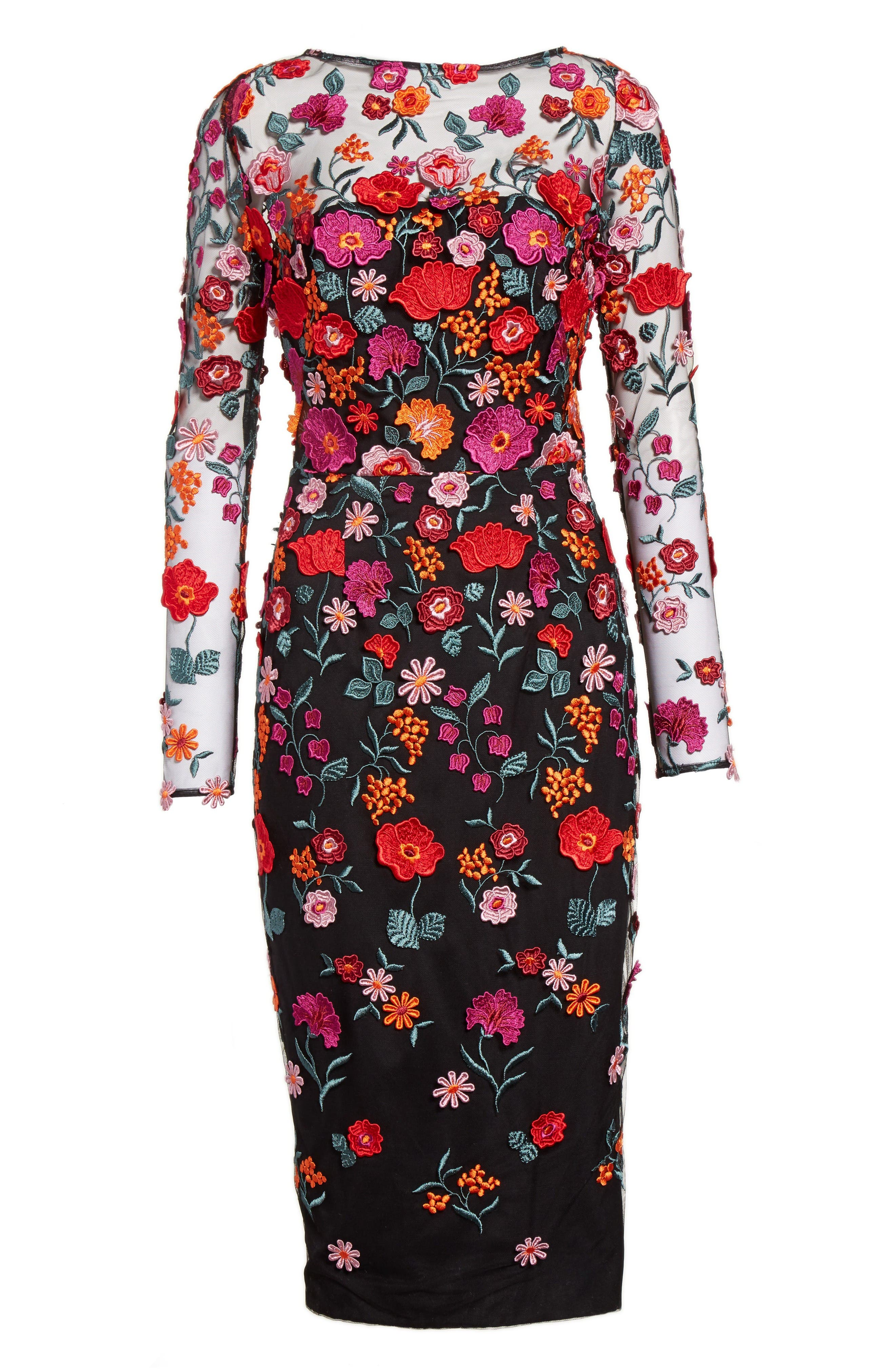 Floral Embroidered Pencil Dress,                             Alternate thumbnail 4, color,                             Multi