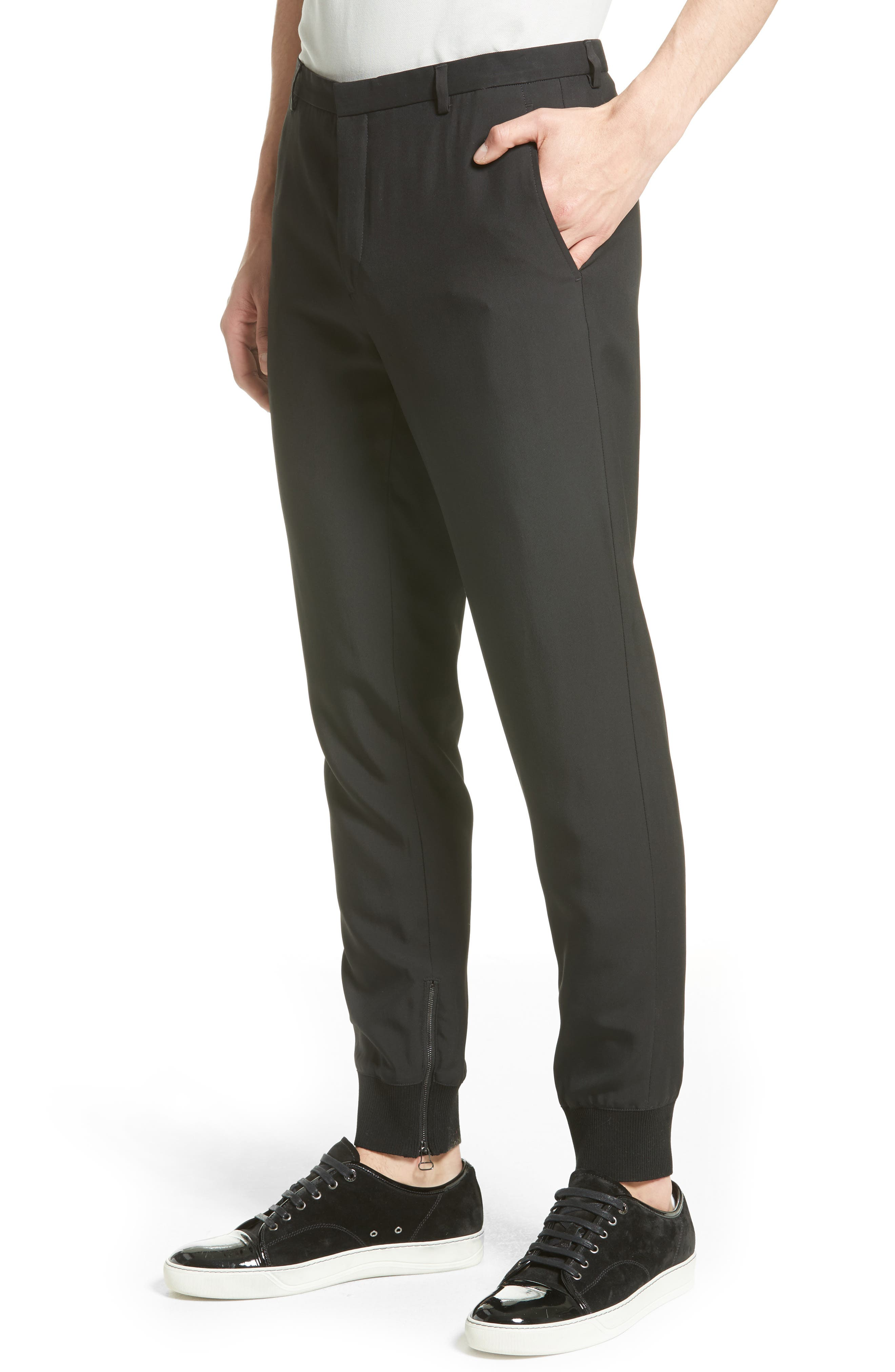 Zip Ankle Jogger Pants,                             Alternate thumbnail 4, color,                             Black