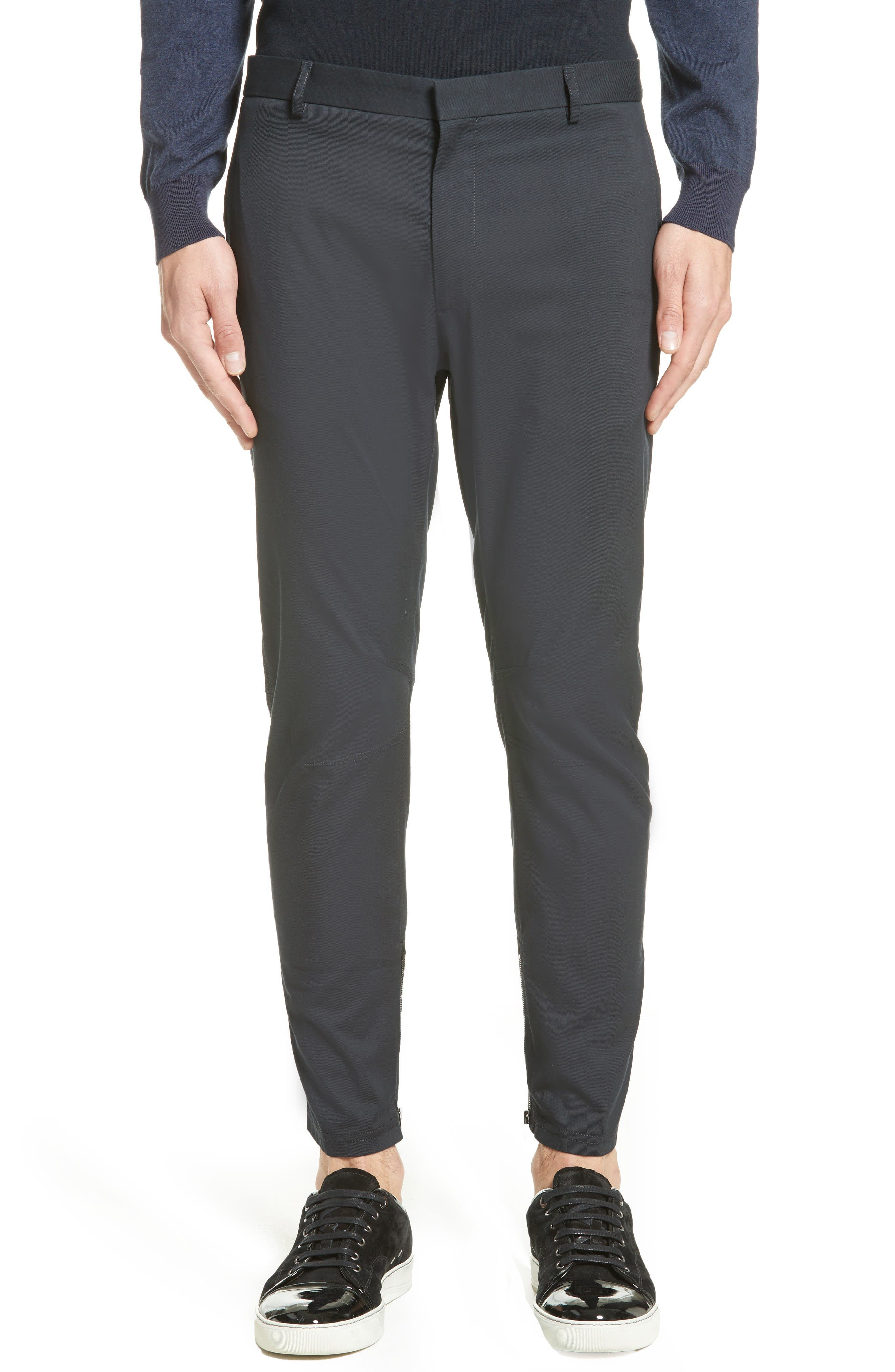 Cotton & Silk Biker Pants,                             Main thumbnail 1, color,                             Navy