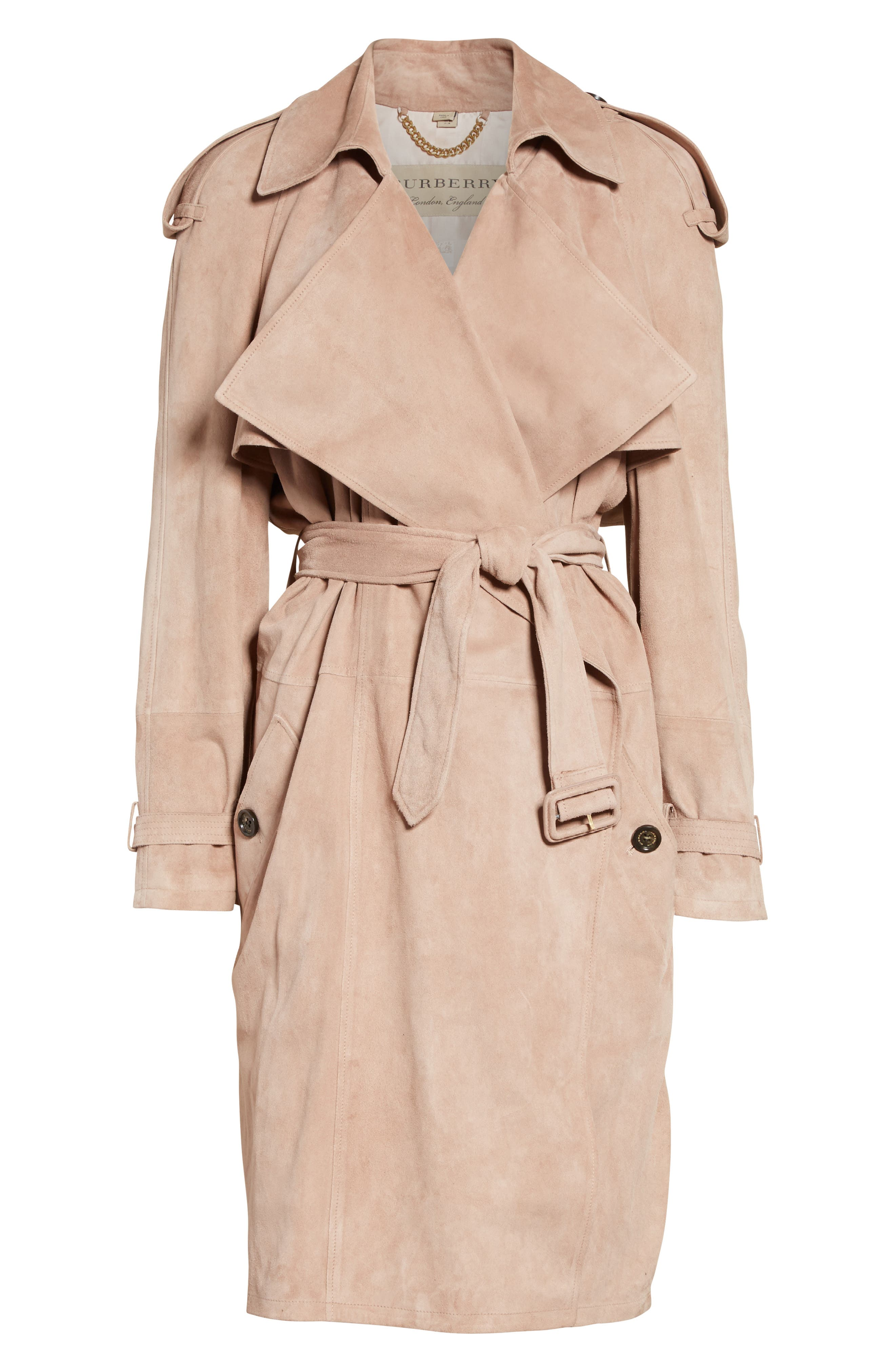 Alternate Image 4  - Burberry Sanbridges Suede Wrap Trench