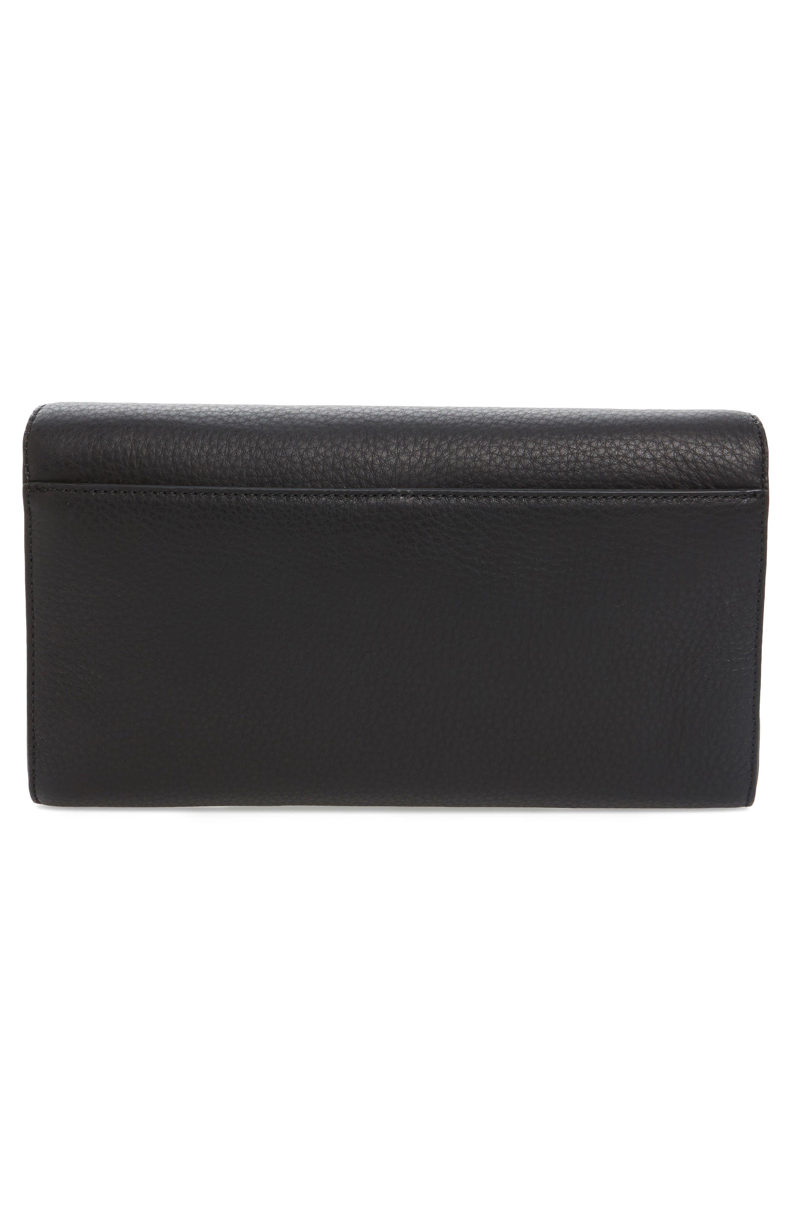 Flex Leather Envelope Clutch,                             Alternate thumbnail 3, color,                             Black