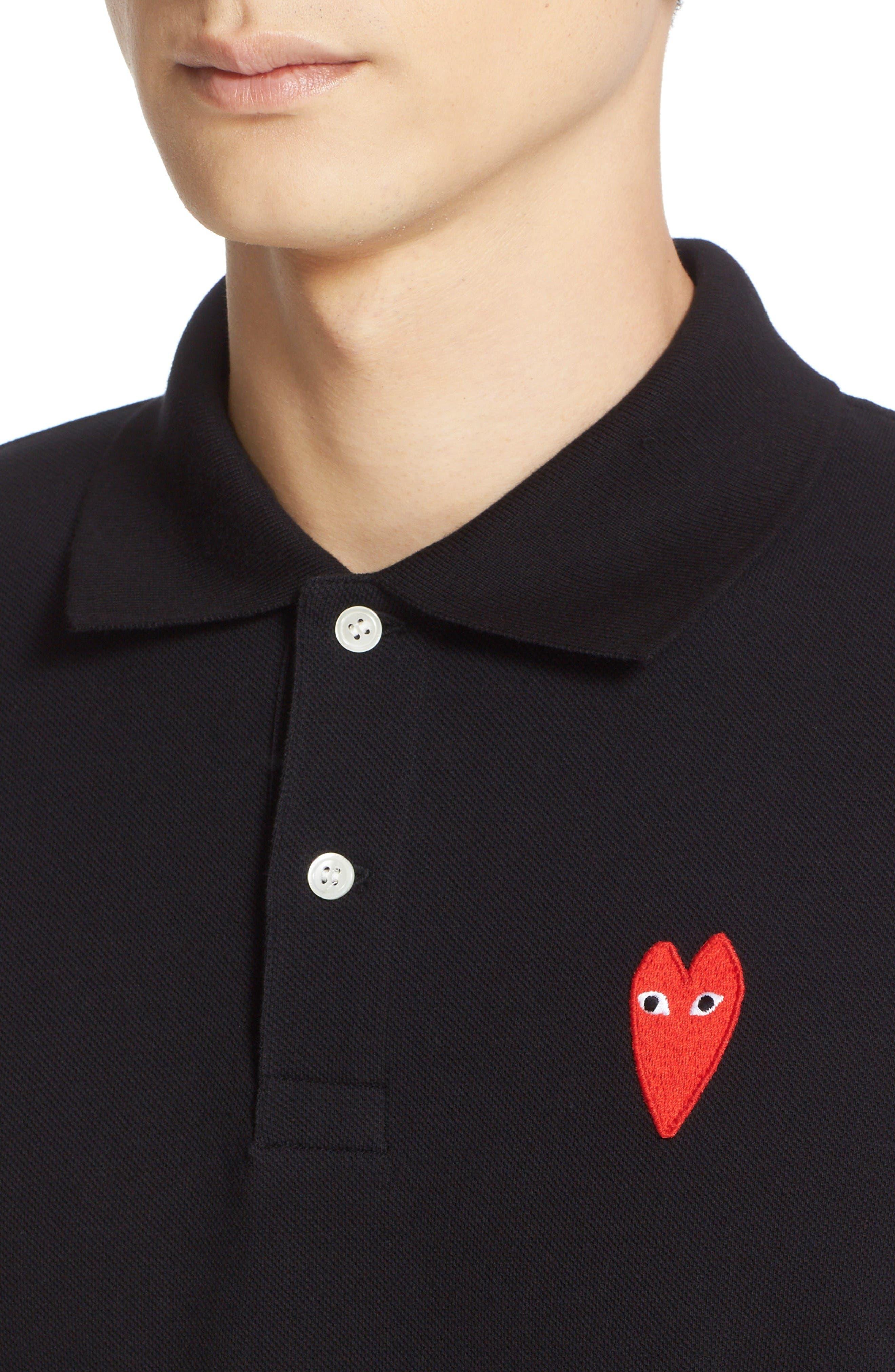 Alternate Image 4  - Comme des Garçons PLAY Stretch Heart Face Polo