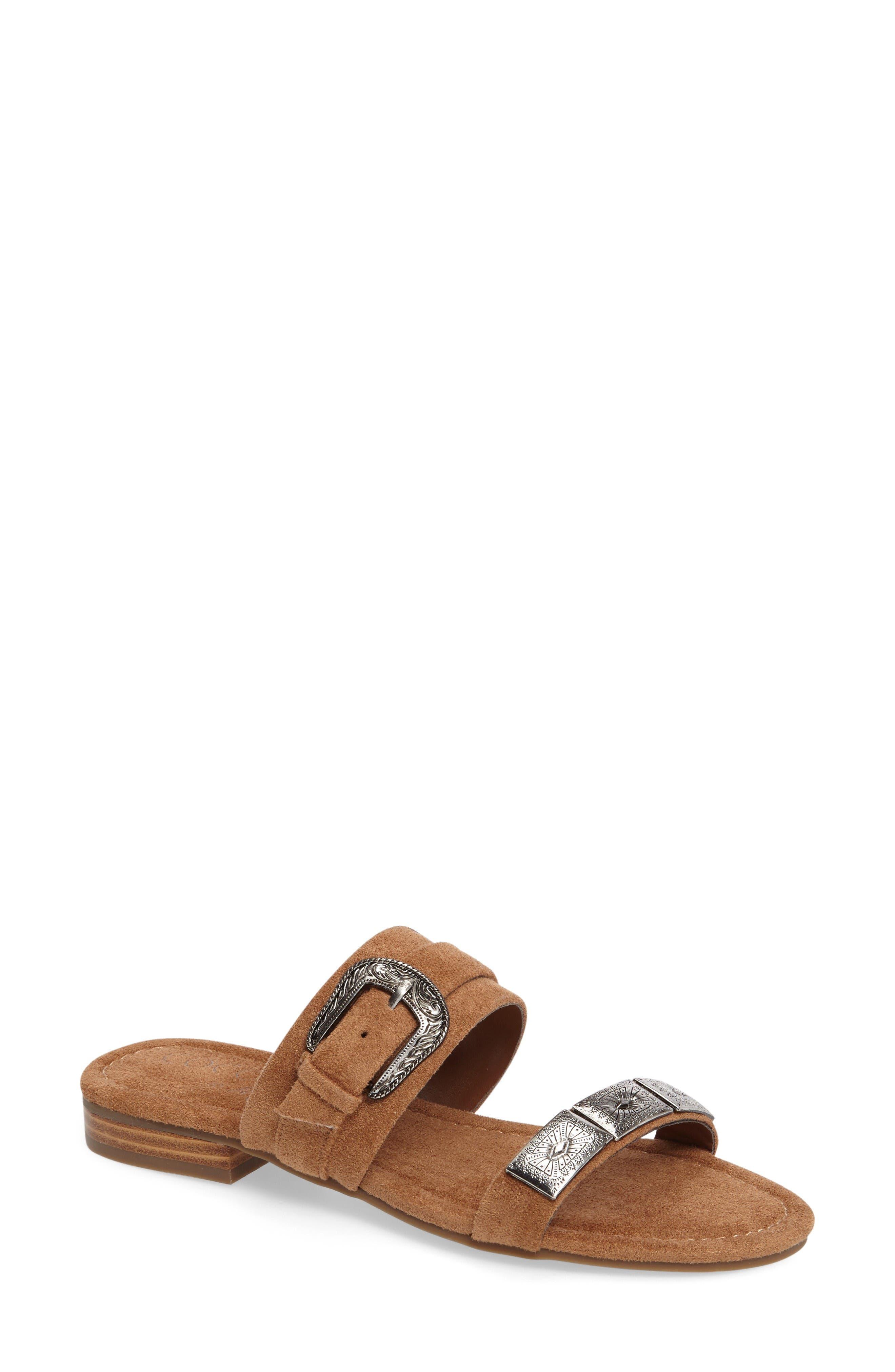 Brantley Buckle Slide Sandal,                         Main,                         color, Saddle Suede