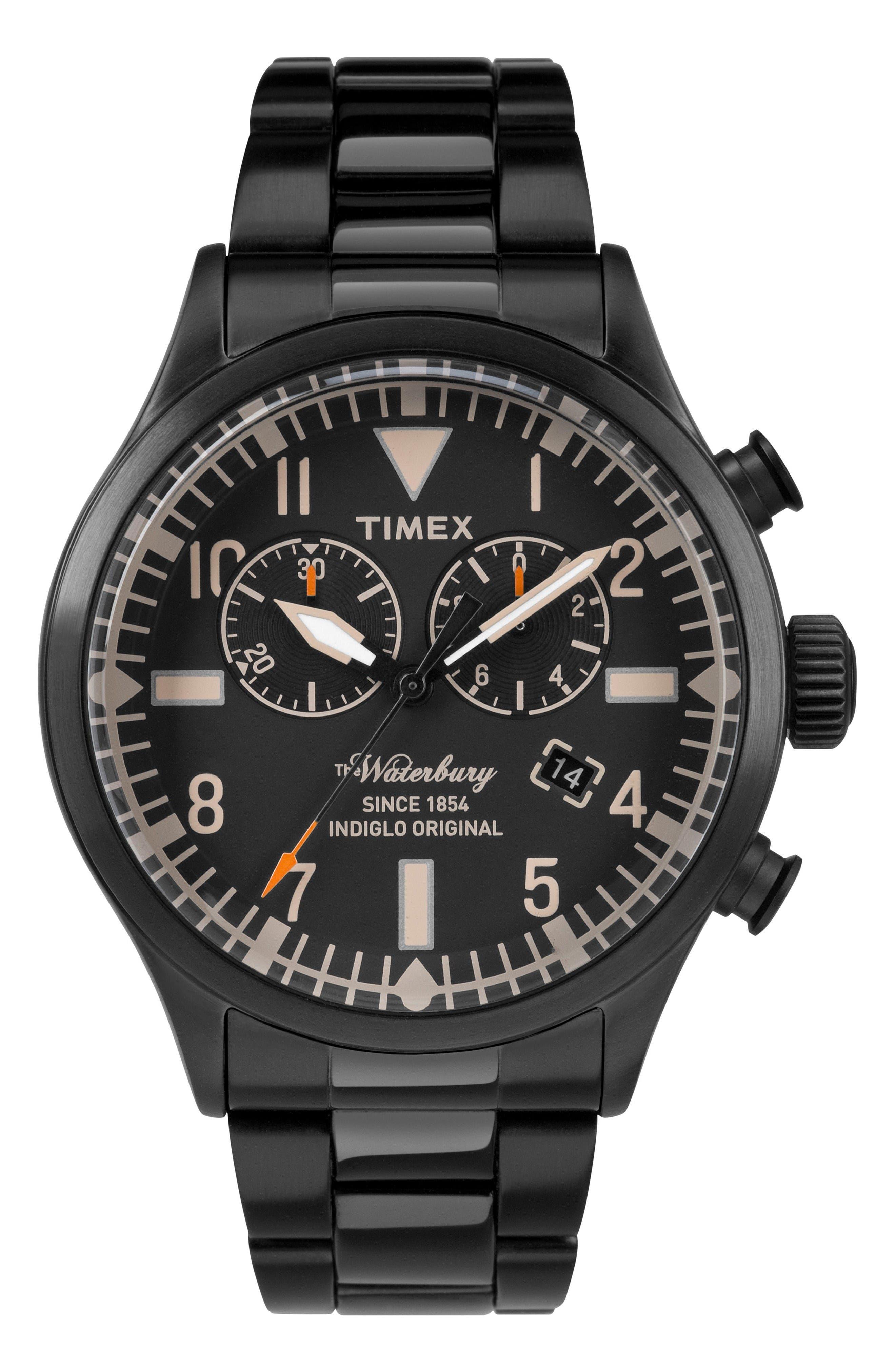 TIMEX<SUP>®</SUP> Waterbury Chronograph Bracelet Watch, 42mm