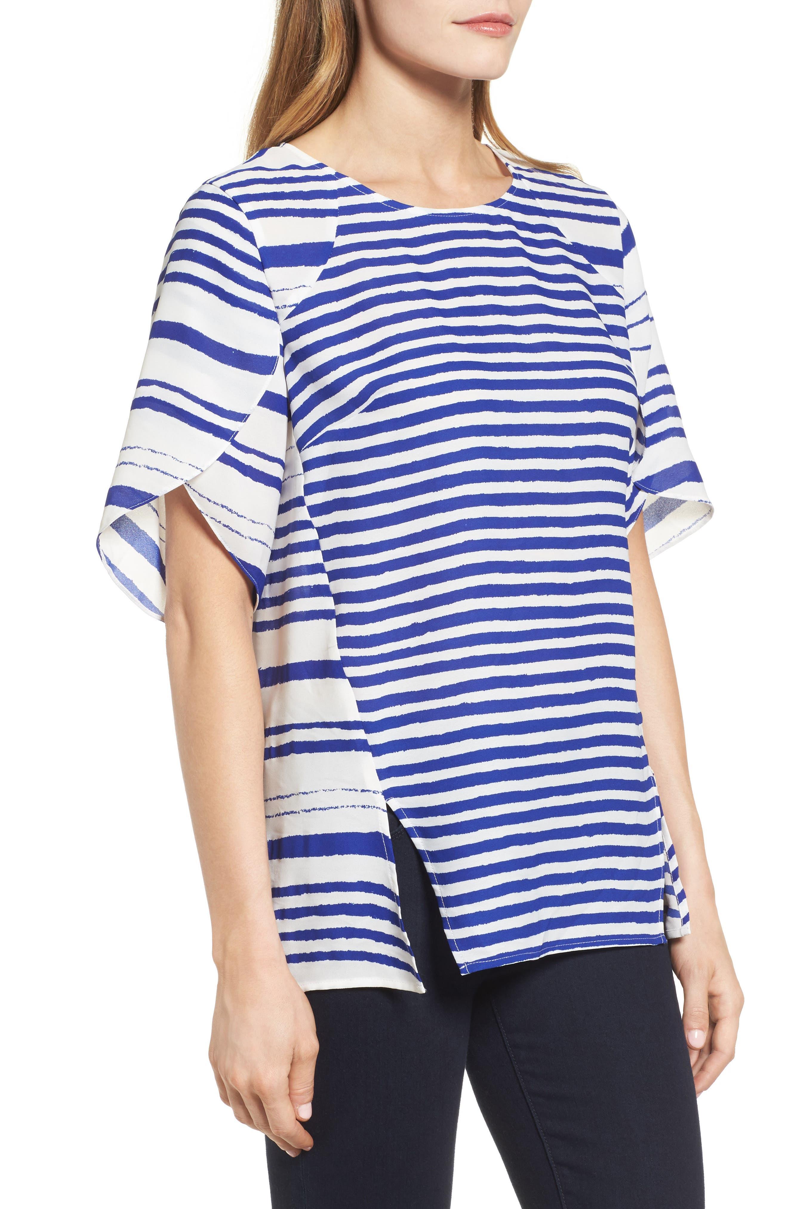 Tulip Sleeve Stripe Blouse,                             Alternate thumbnail 3, color,                             Regatta Blue