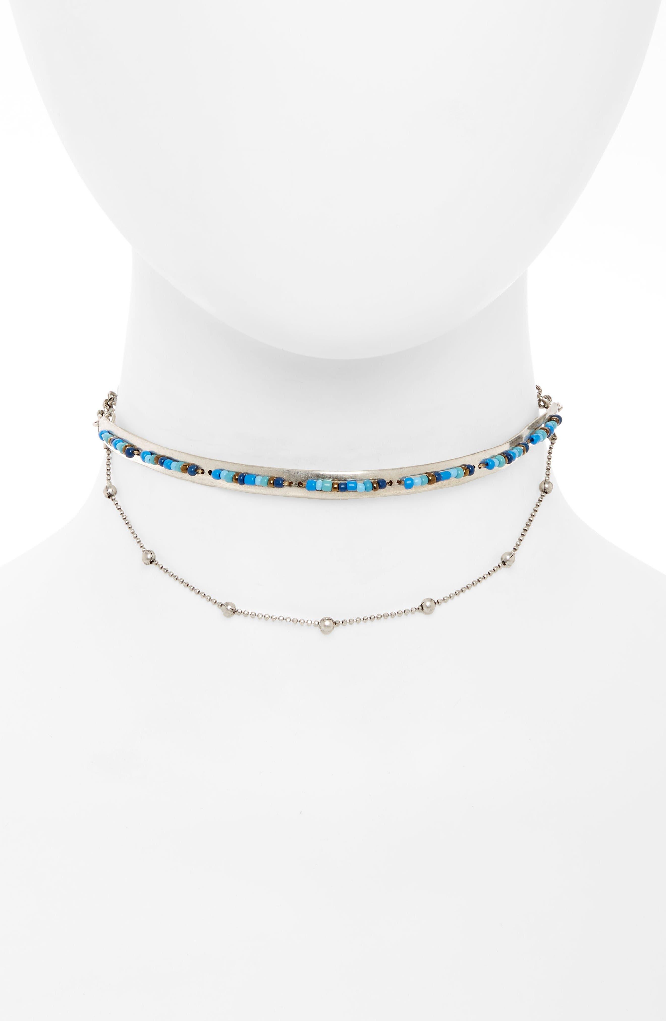 Beaded Choker,                         Main,                         color, Blue Multi- Rhodium