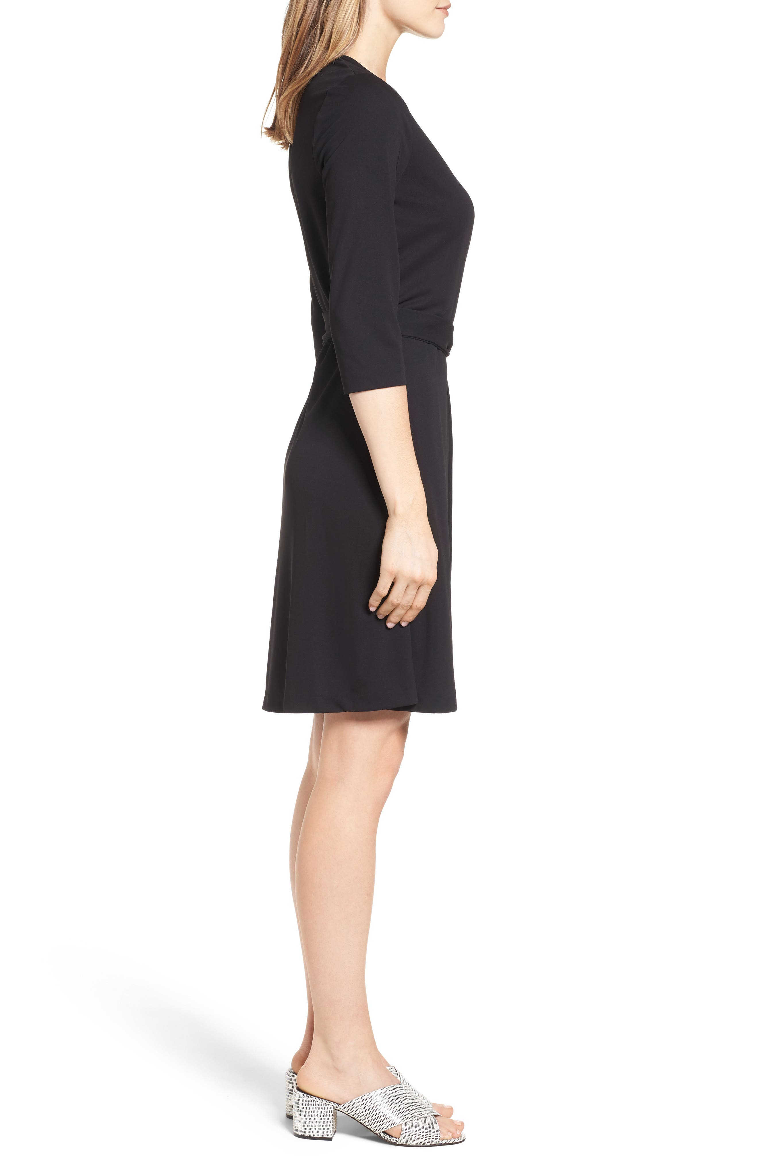 Jersey Wrap Dress,                             Alternate thumbnail 3, color,                             Rich Black