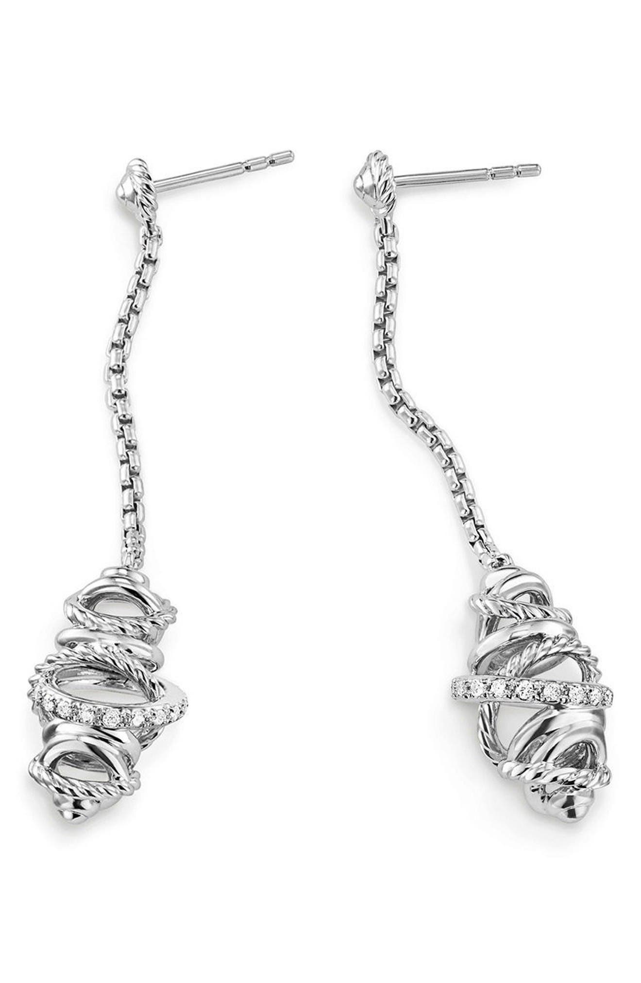 Crossover Chain Drop Earrings with Diamonds,                             Alternate thumbnail 2, color,                             Silver