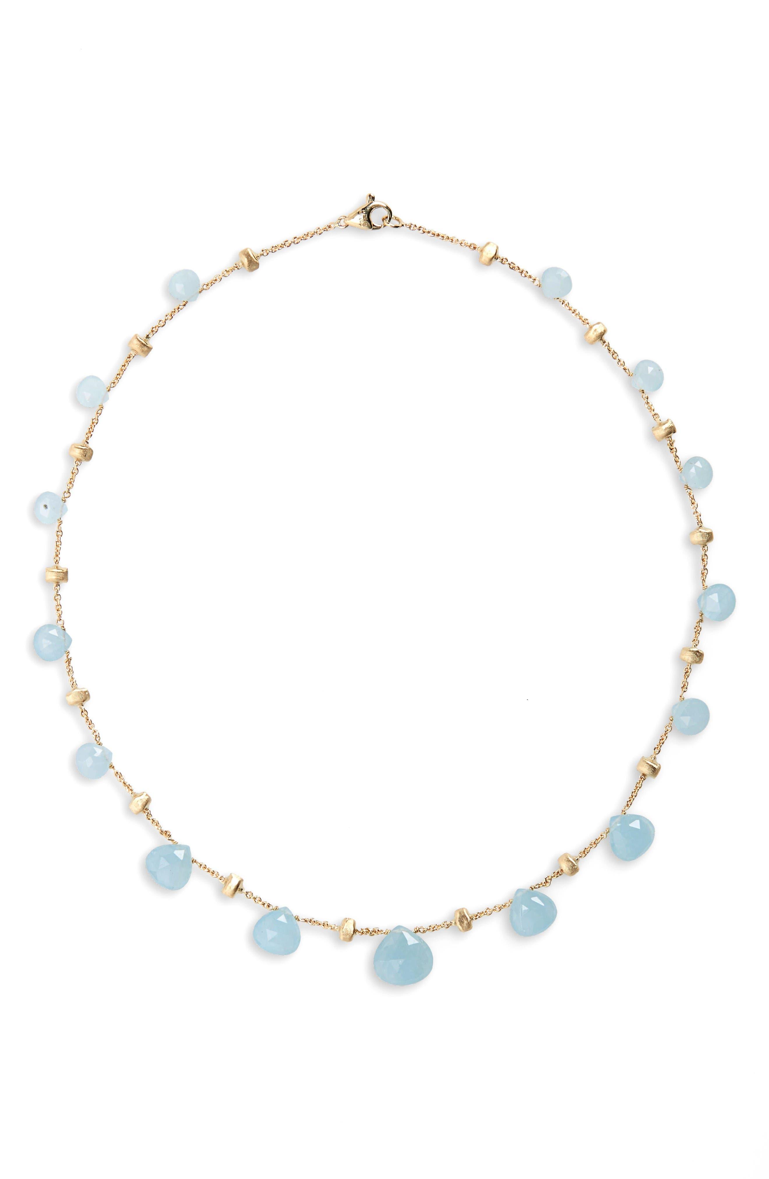 'Paradise' Collar Necklace,                         Main,                         color, Yellow Gold/ Aquamarine